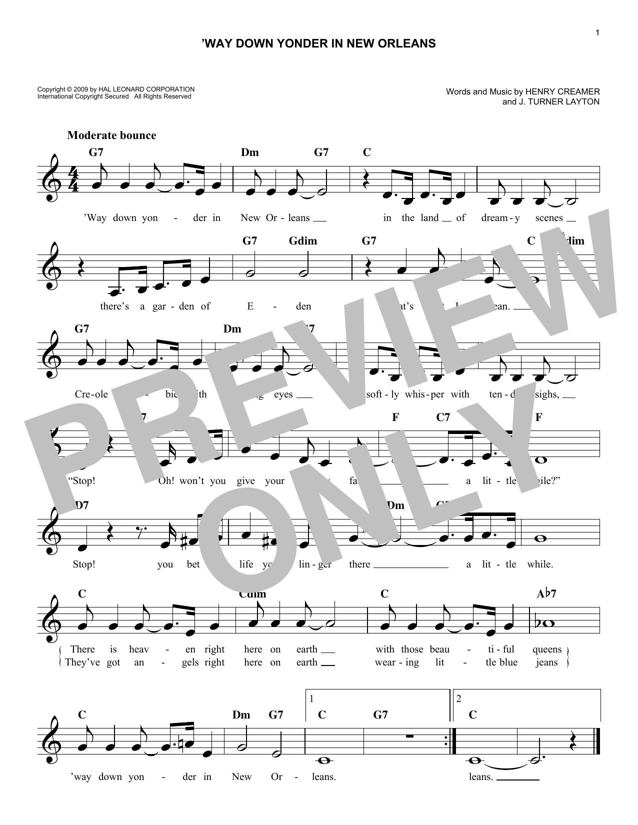 'Way Down Yonder In New Orleans (Lead Sheet / Fake Book)