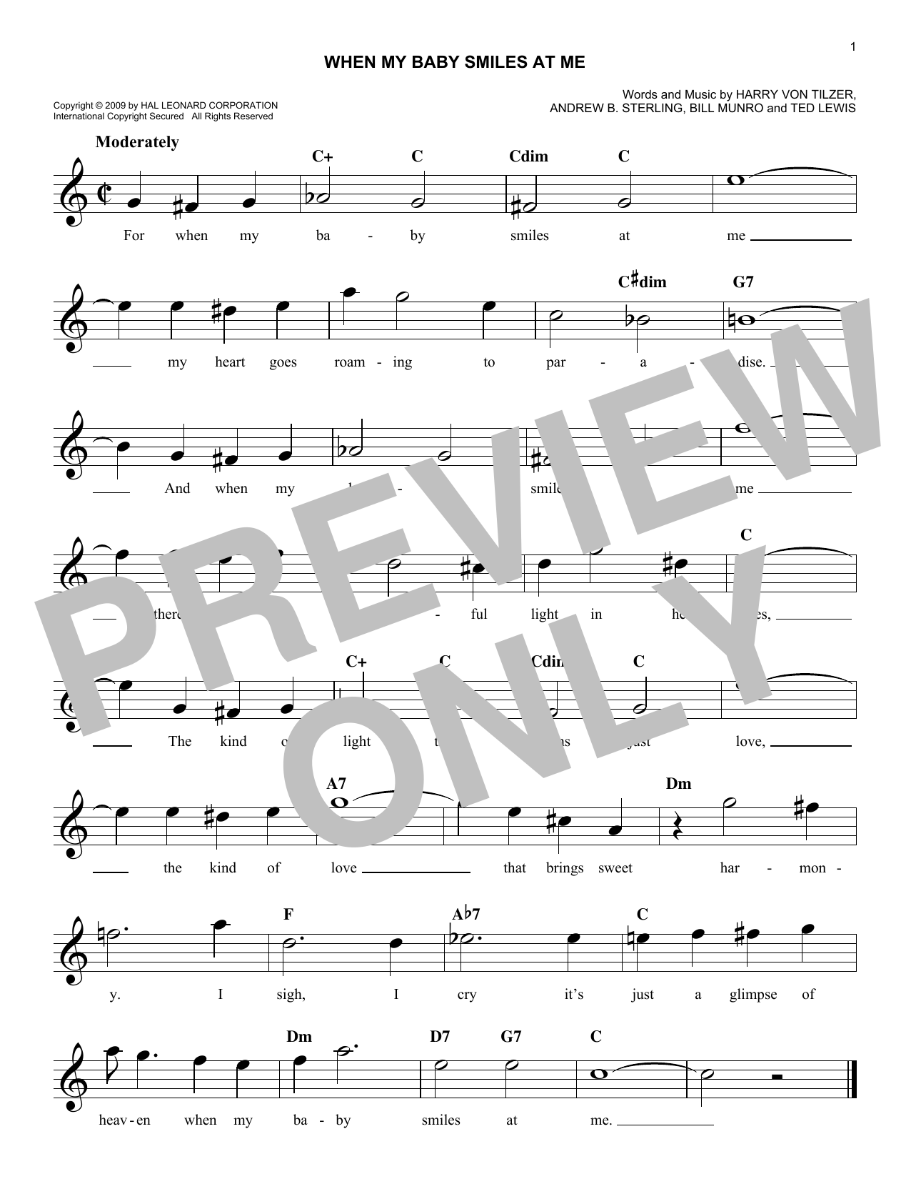 When My Baby Smiles At Me (Lead Sheet / Fake Book)