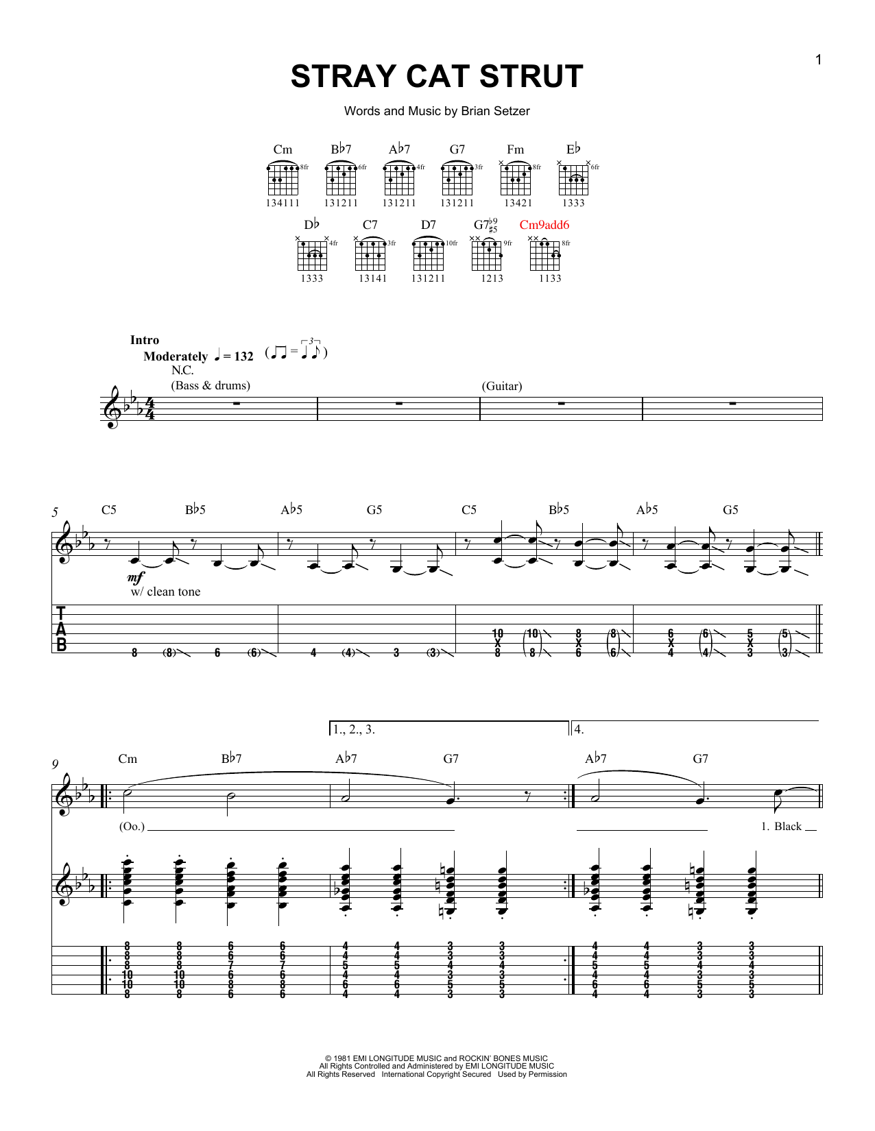 tablature guitare stray cat strut de stray cats