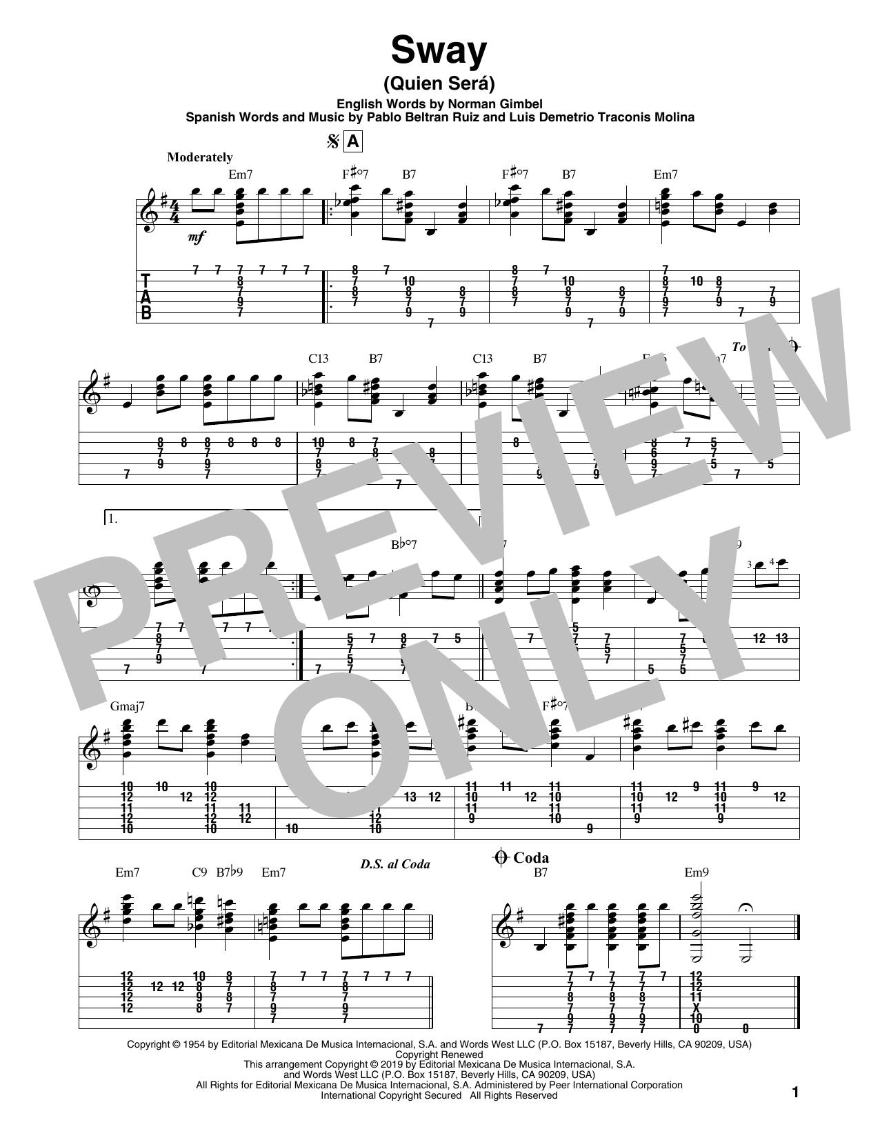 Sway (Quien Sera) (Solo Guitar Tab)