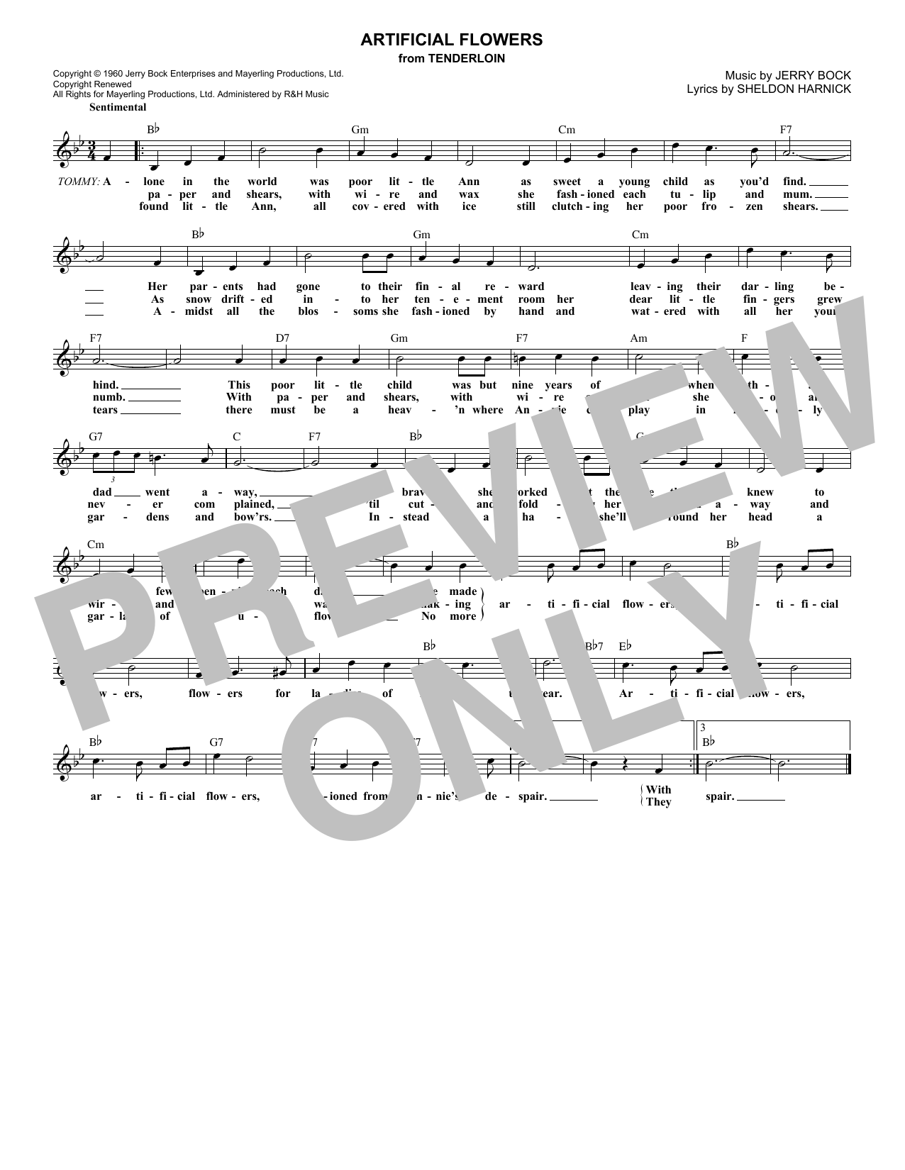 Artificial Flowers (Lead Sheet / Fake Book)