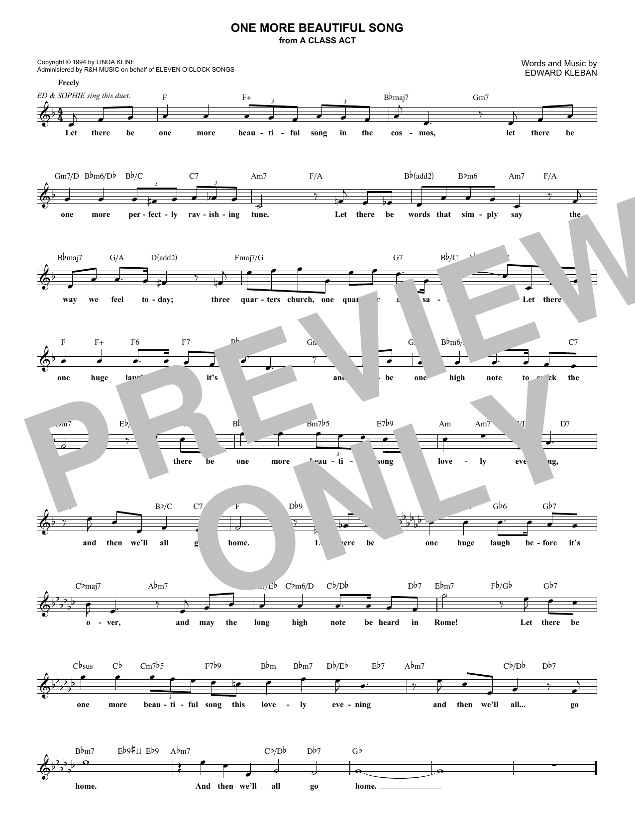 One More Beautiful Song (Lead Sheet / Fake Book)