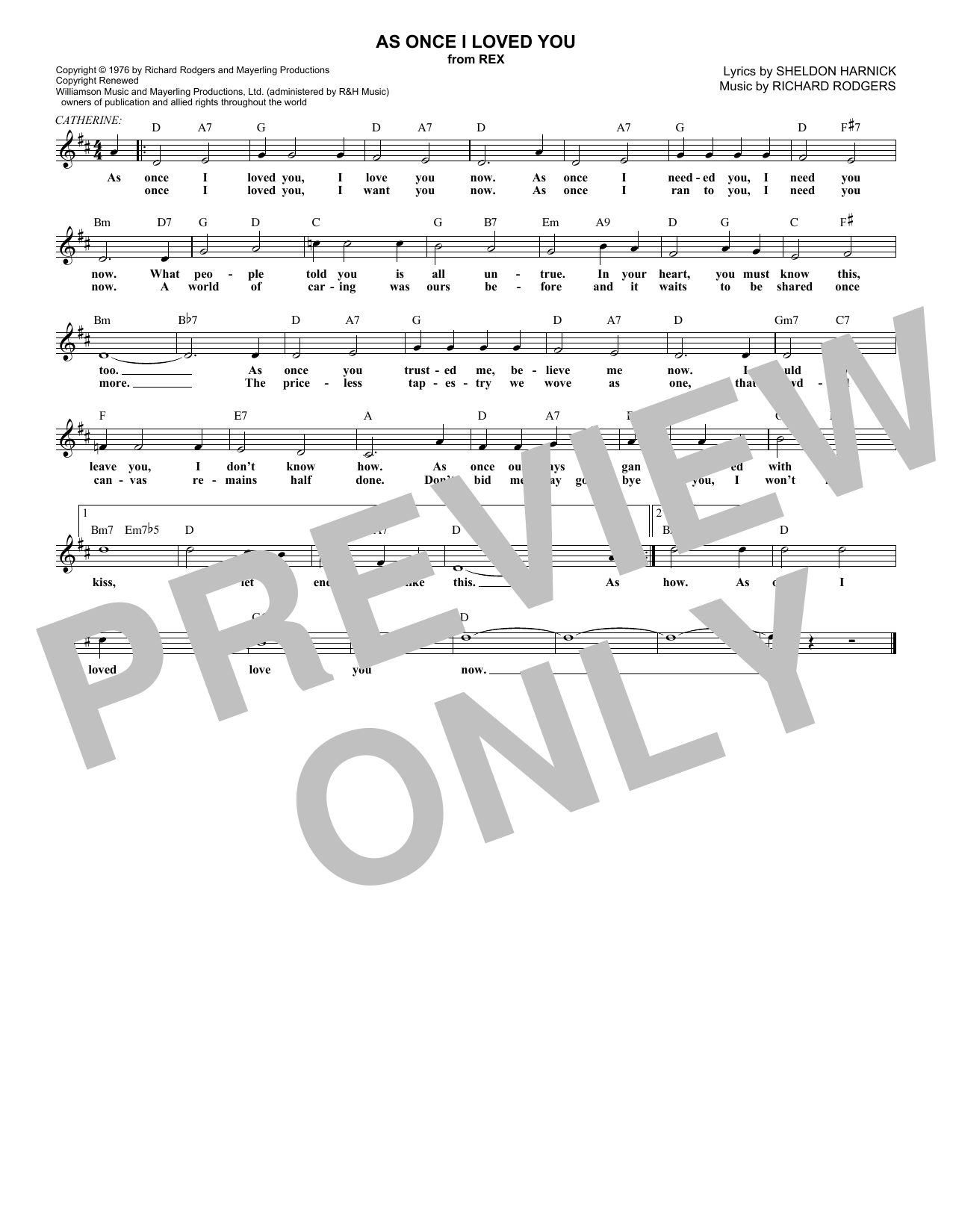 As Once I Loved You (Melody Line, Lyrics & Chords)
