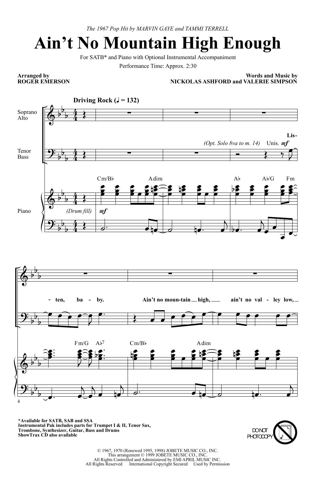 Ain't No Mountain High Enough (arr. Roger Emerson) (SATB Choir)