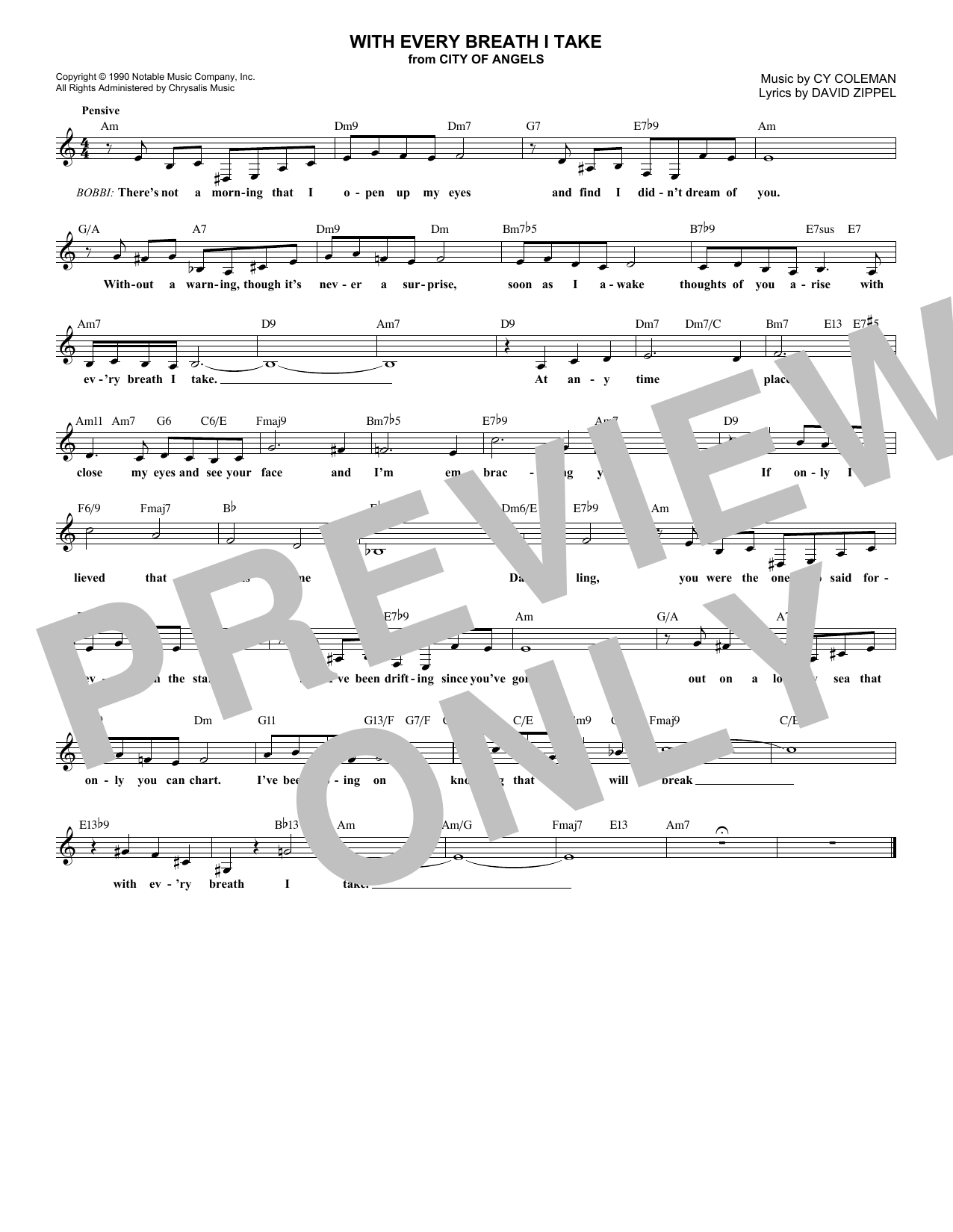 With Every Breath I Take (Lead Sheet / Fake Book)