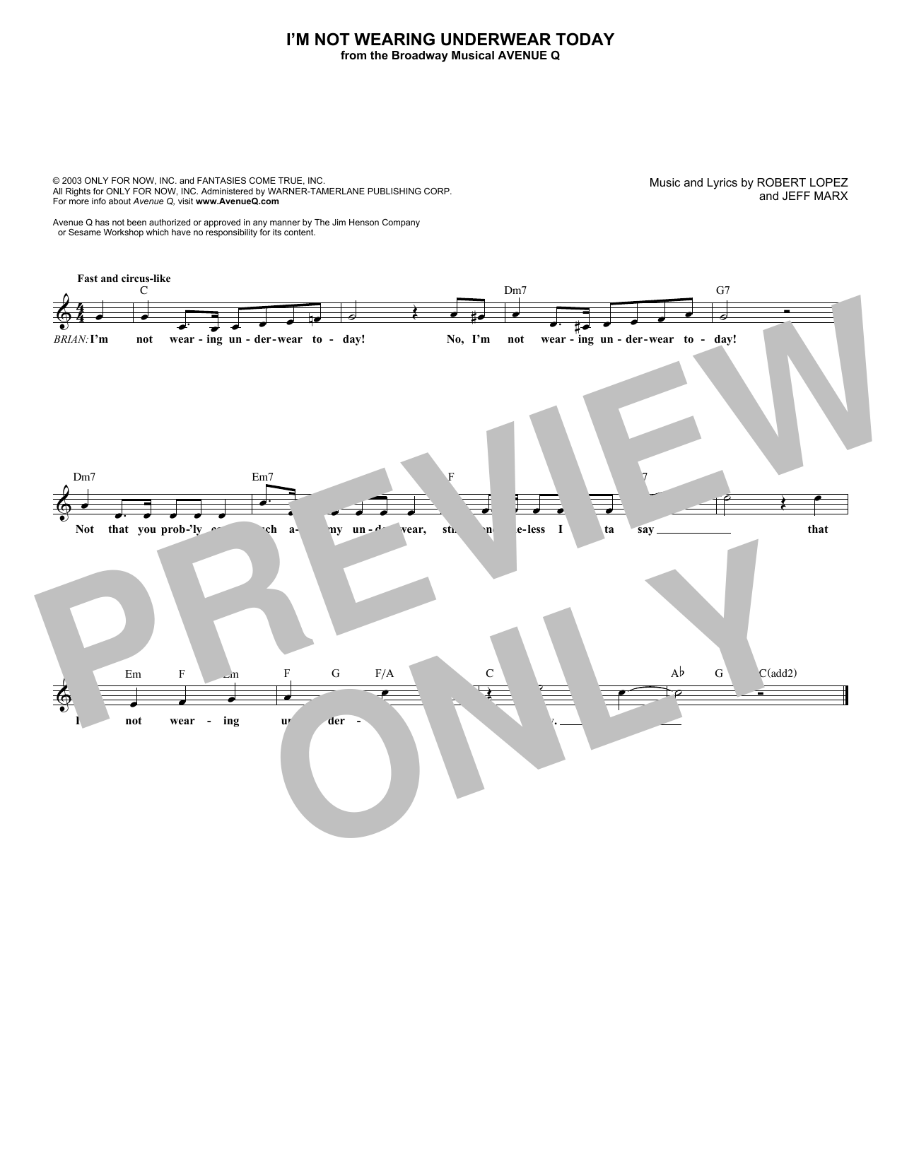 I'm Not Wearing Underwear Today (Lead Sheet / Fake Book)