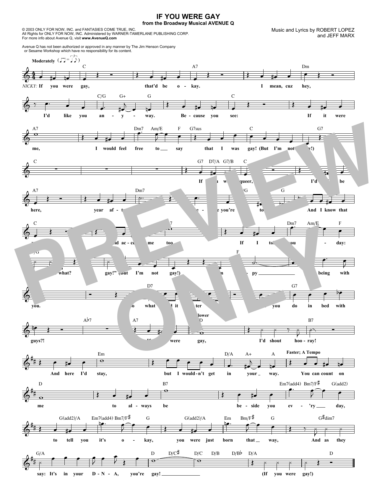 If You Were Gay (Lead Sheet / Fake Book)