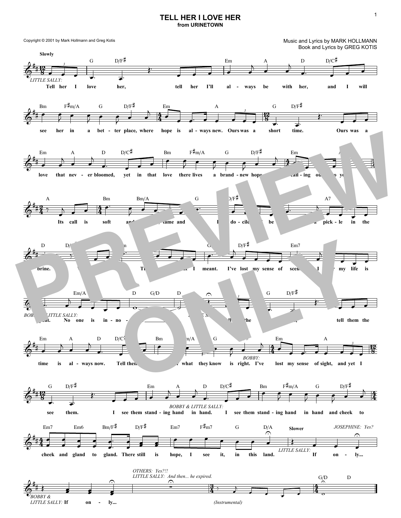 Tell Her I Love Her (Lead Sheet / Fake Book)