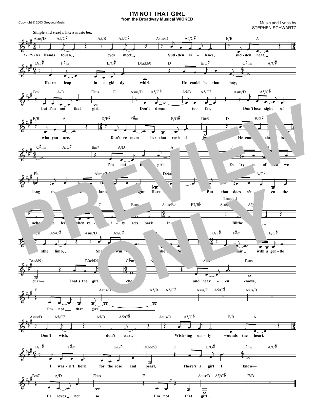 I'm Not That Girl (from Wicked) (Lead Sheet / Fake Book)