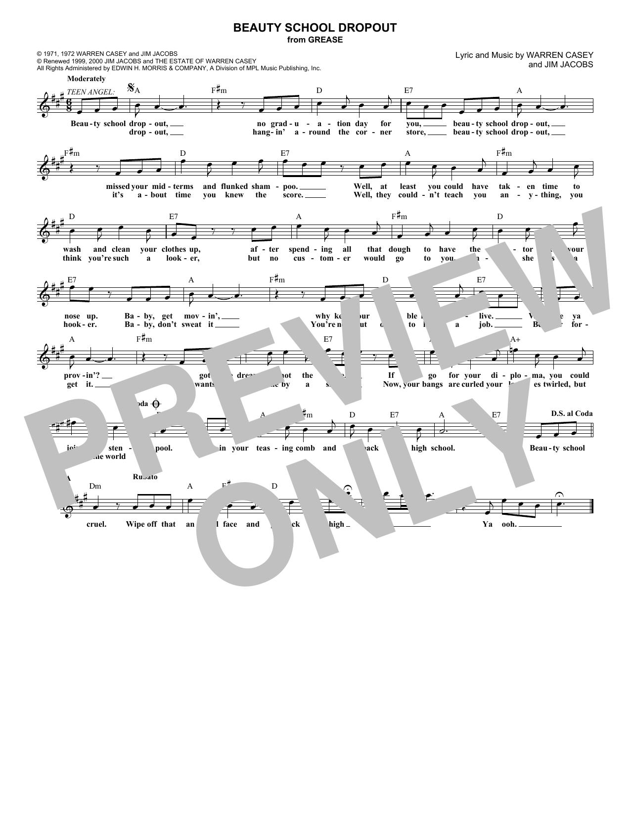 Beauty School Dropout (Melody Line, Lyrics & Chords)
