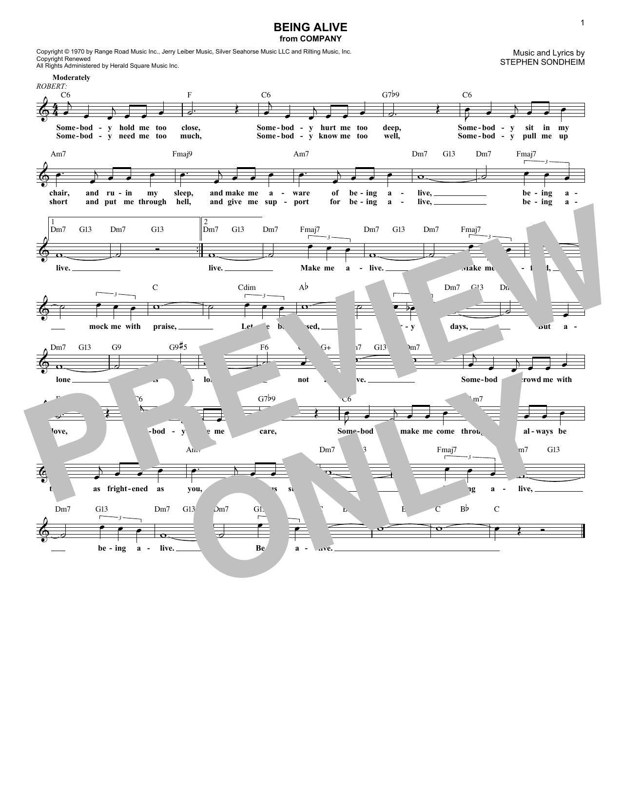 Being Alive (Lead Sheet / Fake Book)