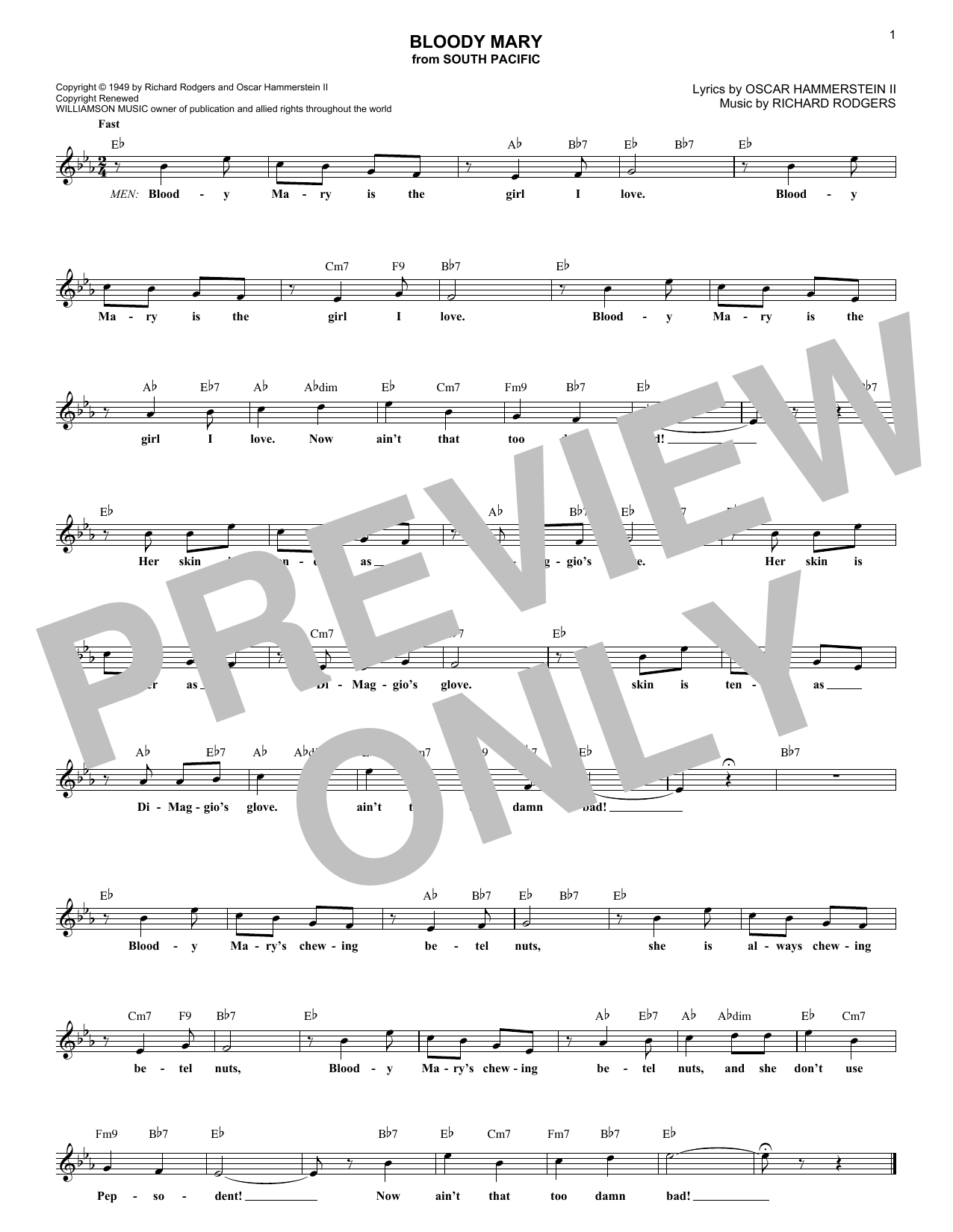 Bloody Mary (Lead Sheet / Fake Book)