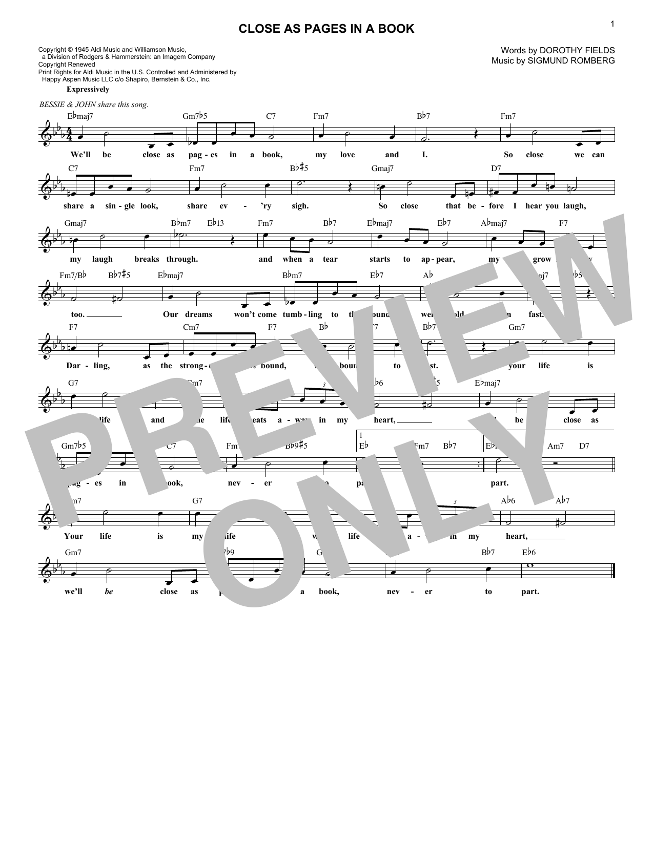 Close As Pages In A Book (Melody Line, Lyrics & Chords)