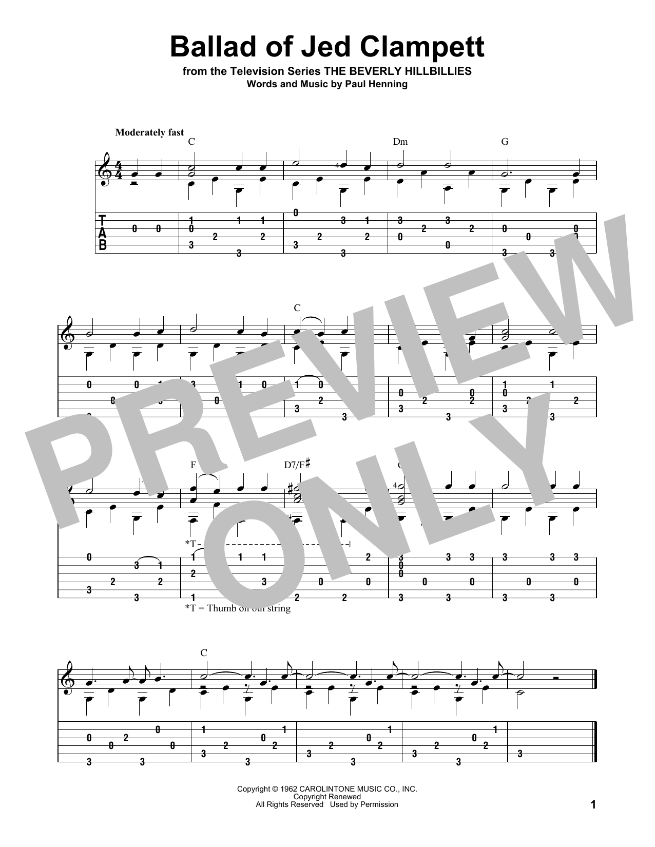 Ballad Of Jed Clampett (from The Beverly Hillbillies) (arr. David Hamburger) (Solo Guitar Tab)