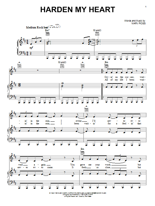 Harden My Heart Sheet Music