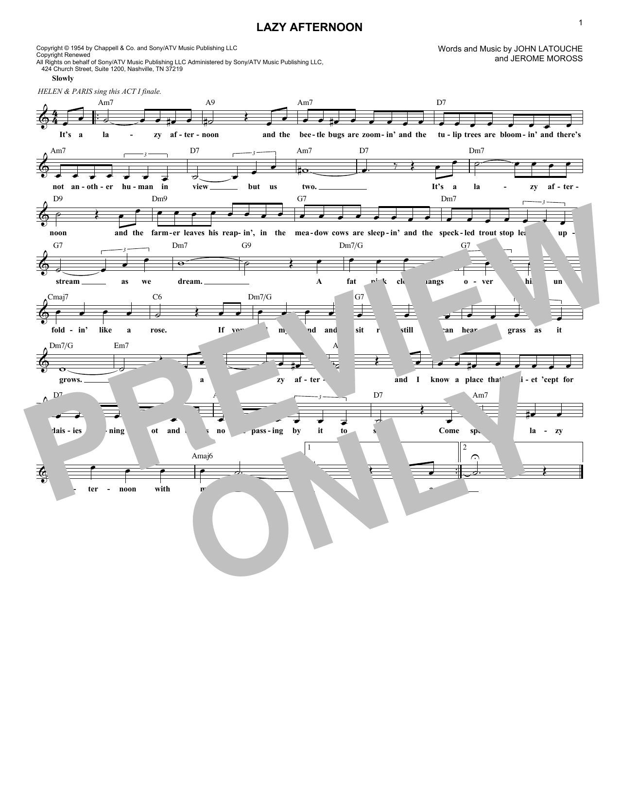 Lazy Afternoon (Lead Sheet / Fake Book)
