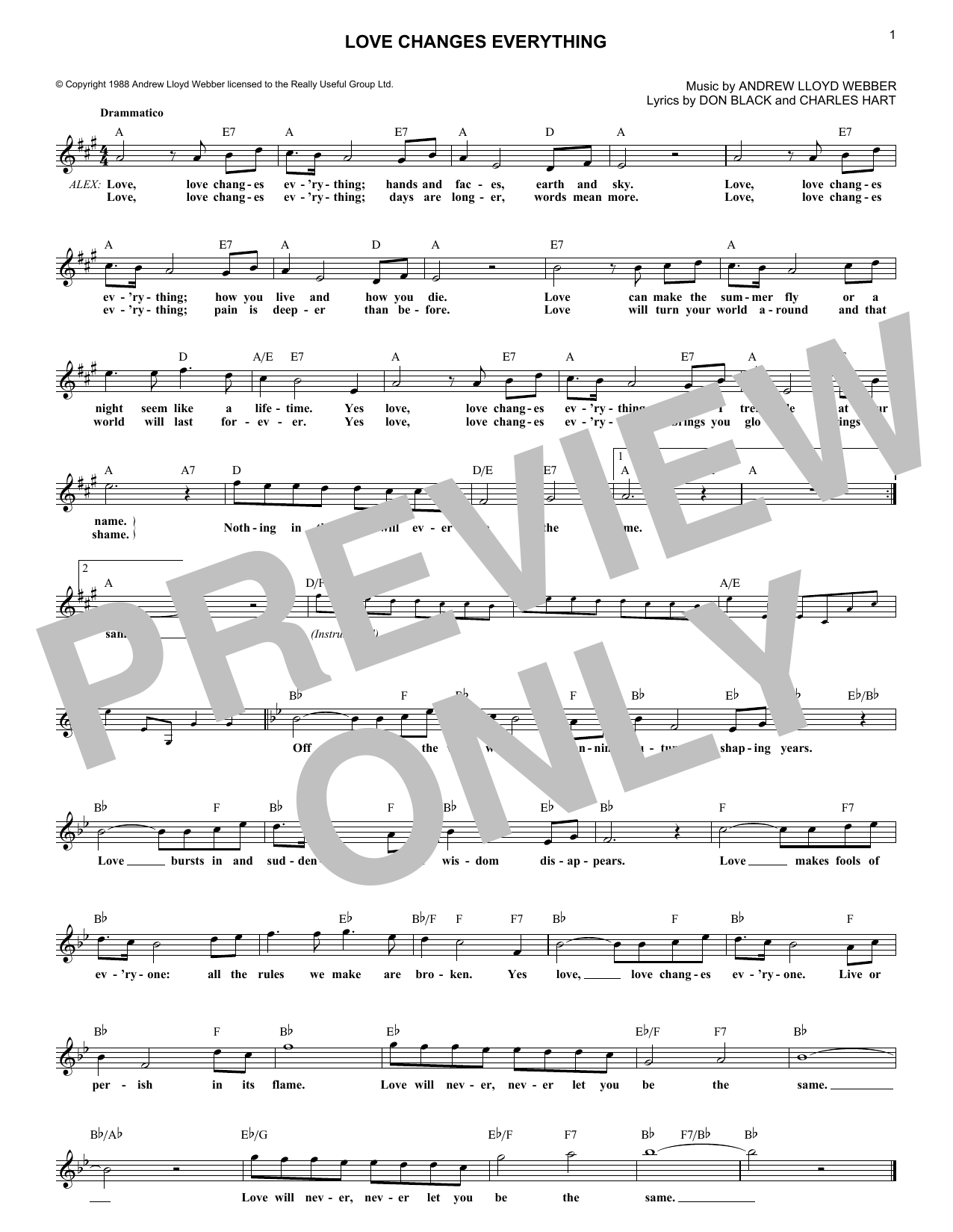 Love Changes Everything (Lead Sheet / Fake Book)