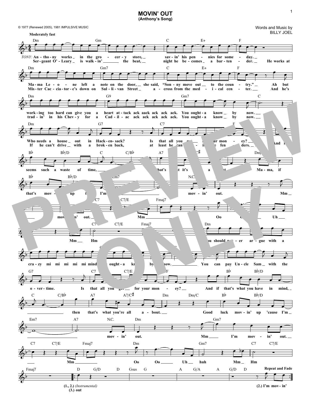 Movin' Out (Anthony's Song) (Lead Sheet / Fake Book)