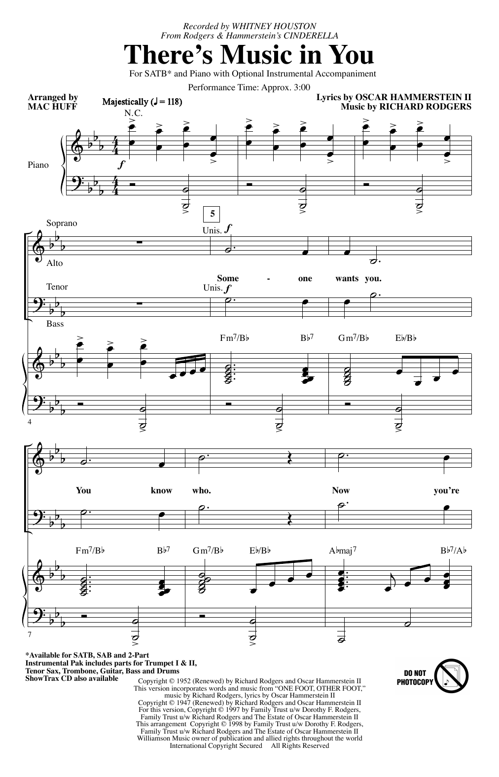Partition chorale There's Music In You (from Cinderella) (arr. Mac Huff) de Whitney Houston - SATB