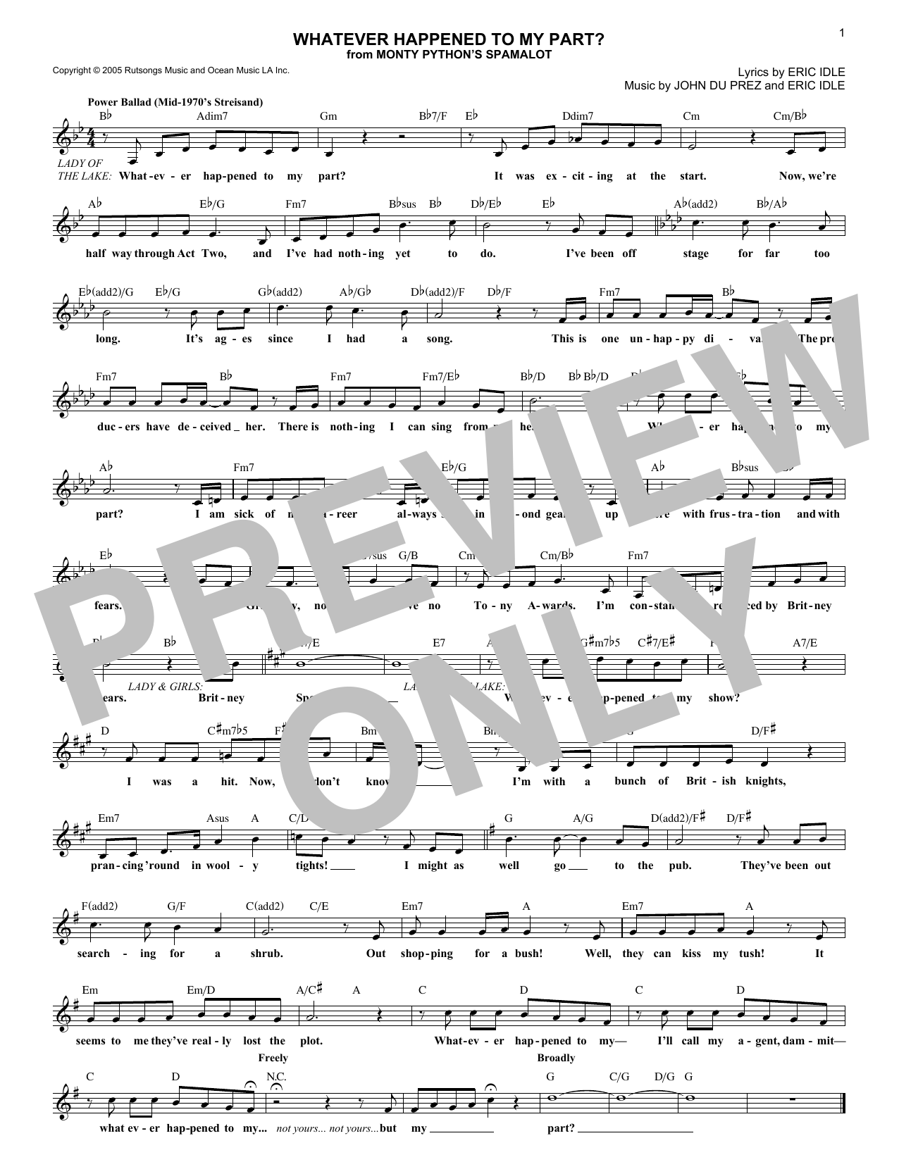 Whatever Happened To My Part? (Lead Sheet / Fake Book)