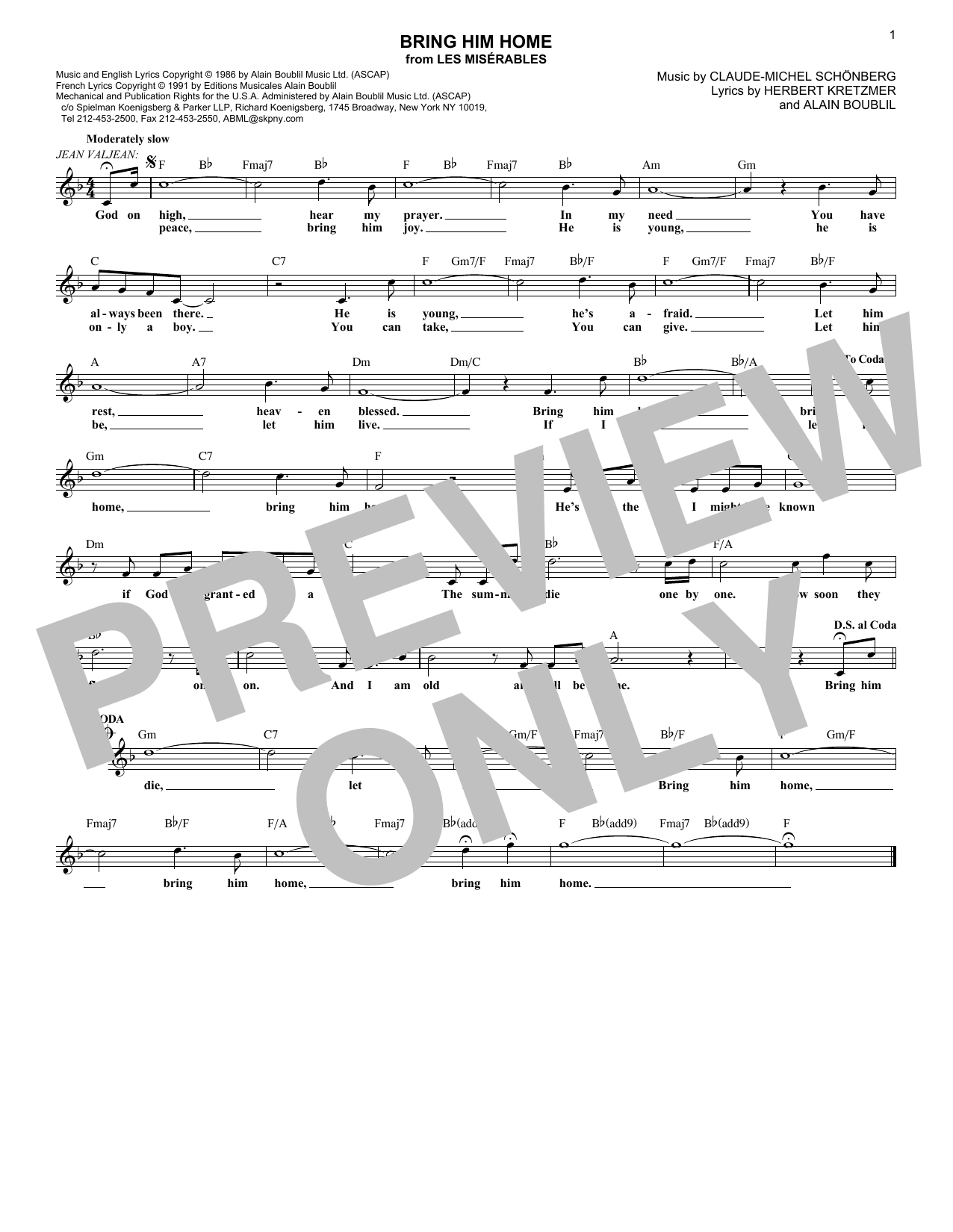 Bring Him Home (Lead Sheet / Fake Book)