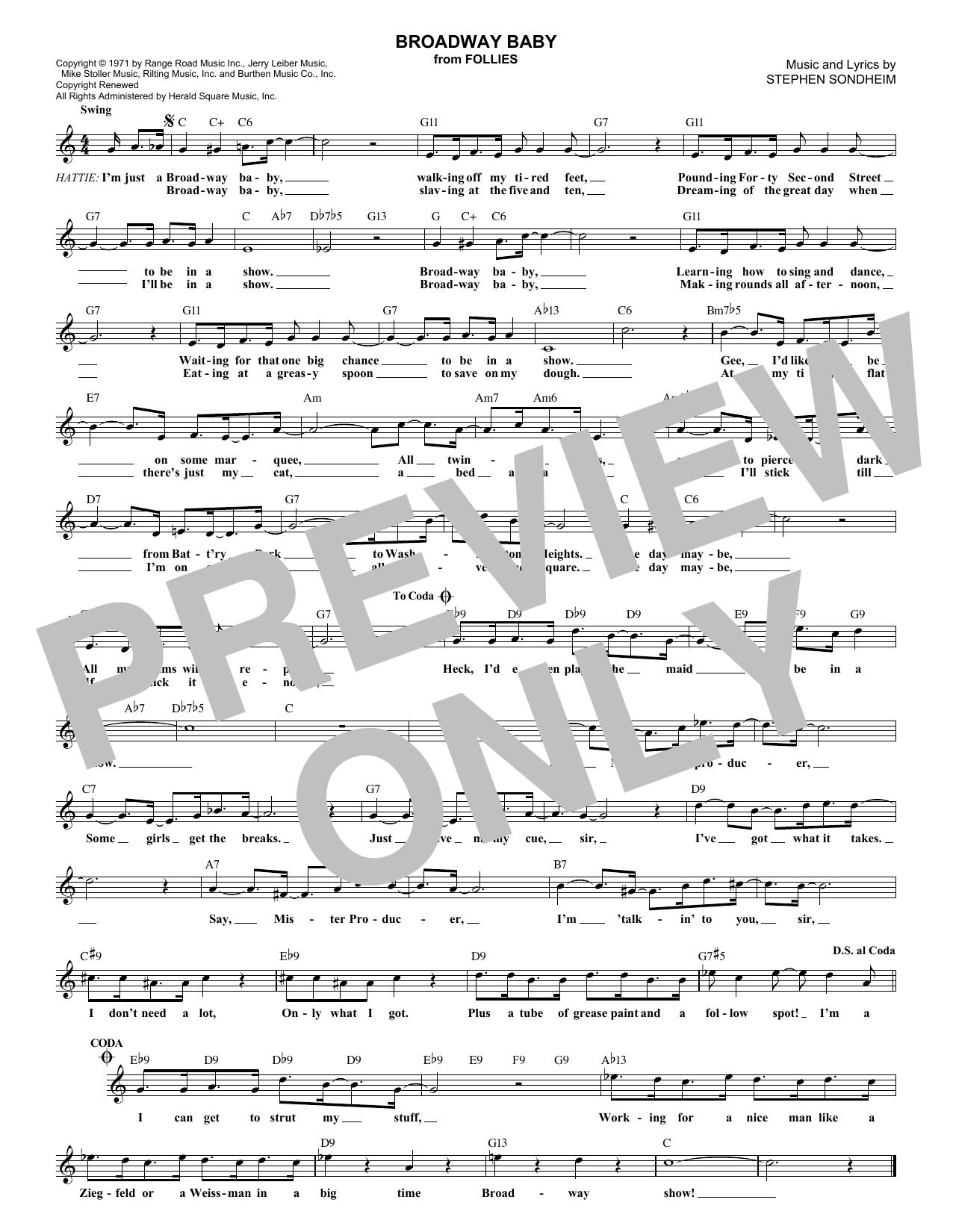 Broadway Baby (Lead Sheet / Fake Book)