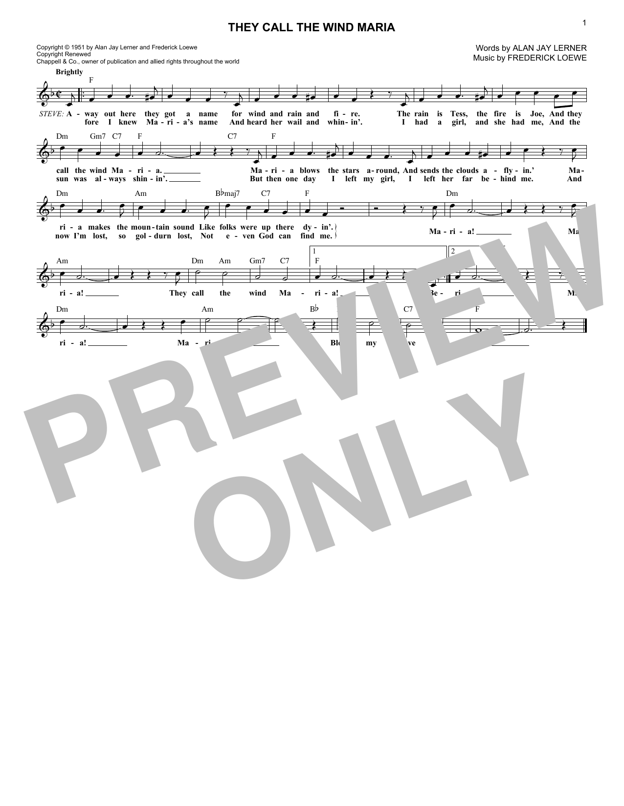 They Call The Wind Maria (from Paint Your Wagon) (Lead Sheet / Fake Book)