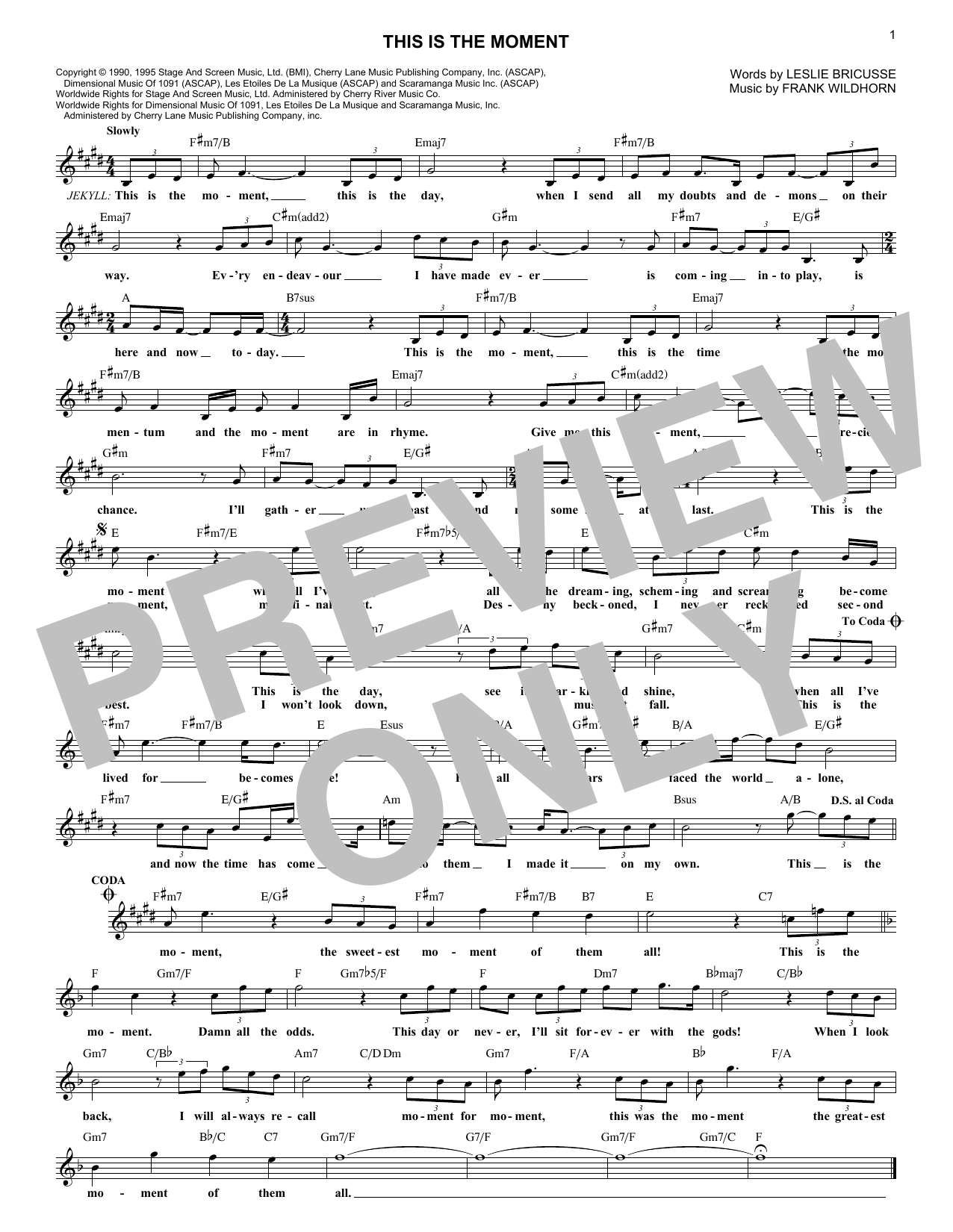 This Is The Moment (Lead Sheet / Fake Book)
