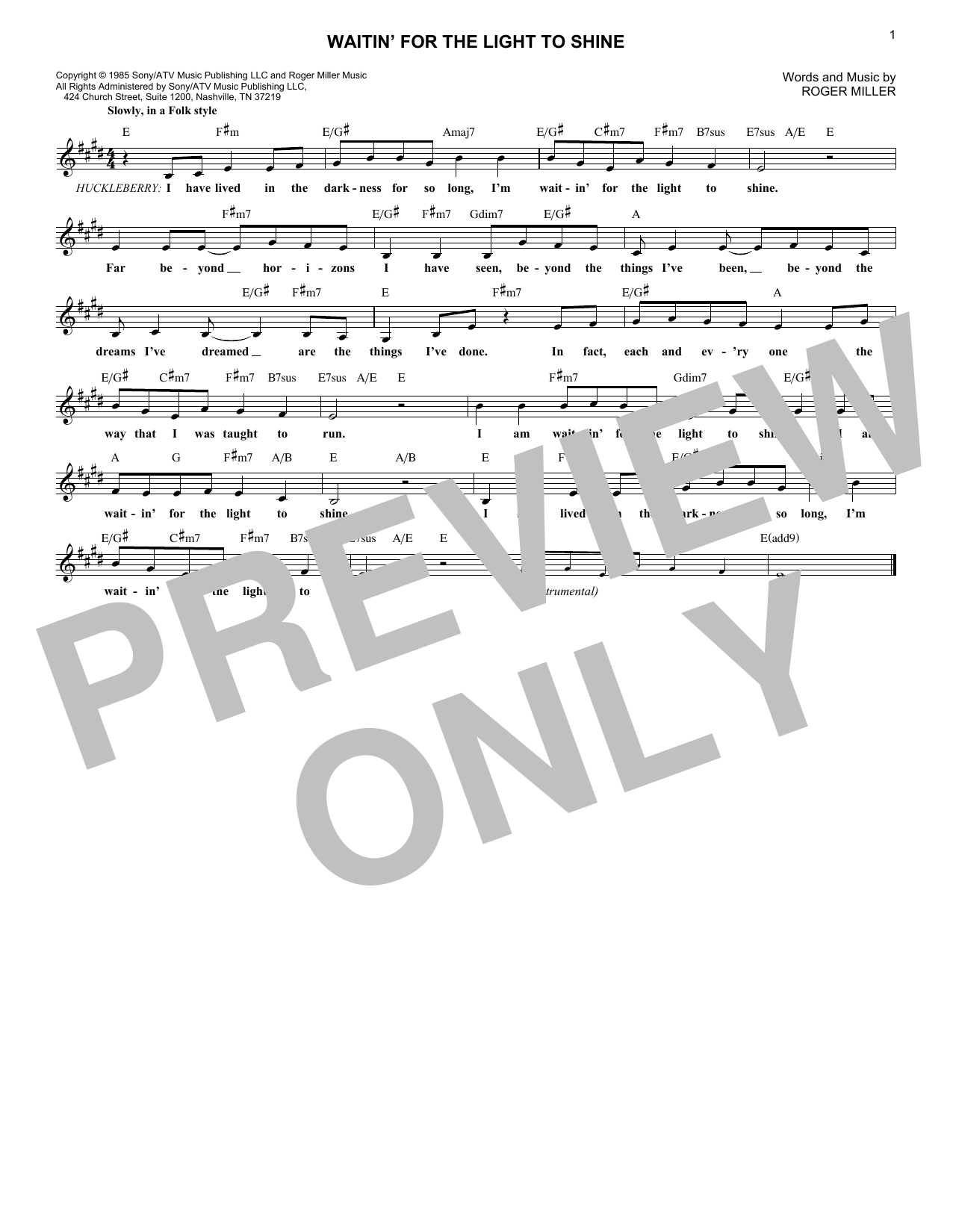 Waitin' For The Light To Shine (Lead Sheet / Fake Book)