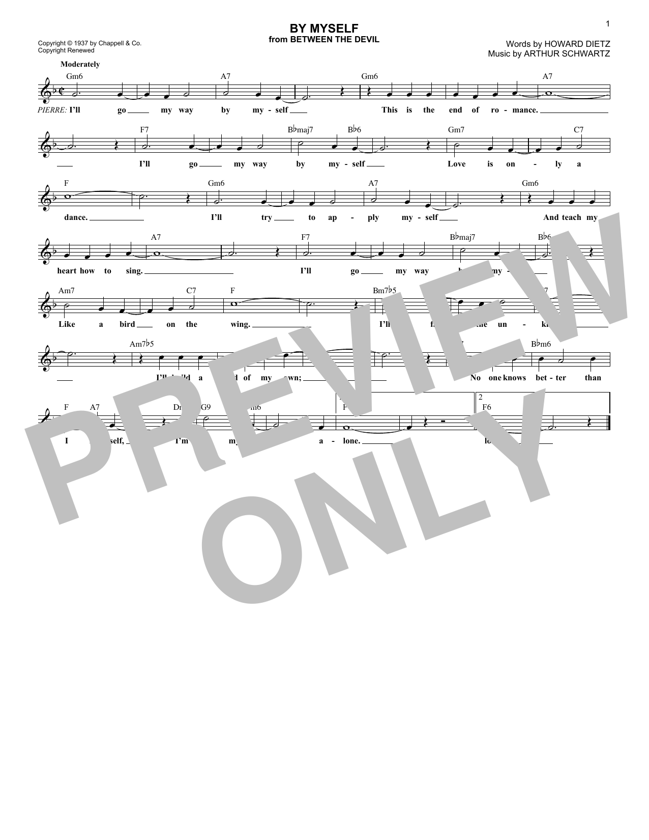 By Myself (Lead Sheet / Fake Book)