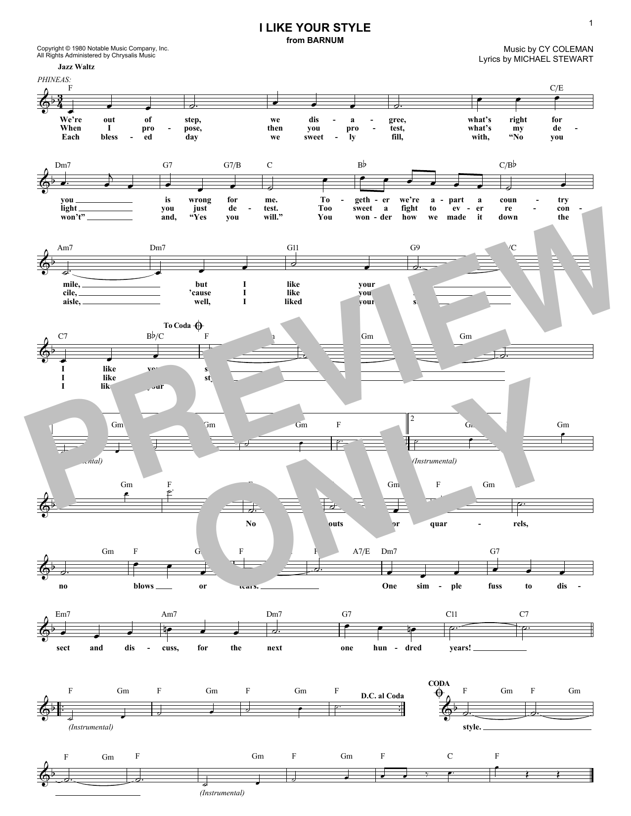 I Like Your Style (Lead Sheet / Fake Book)