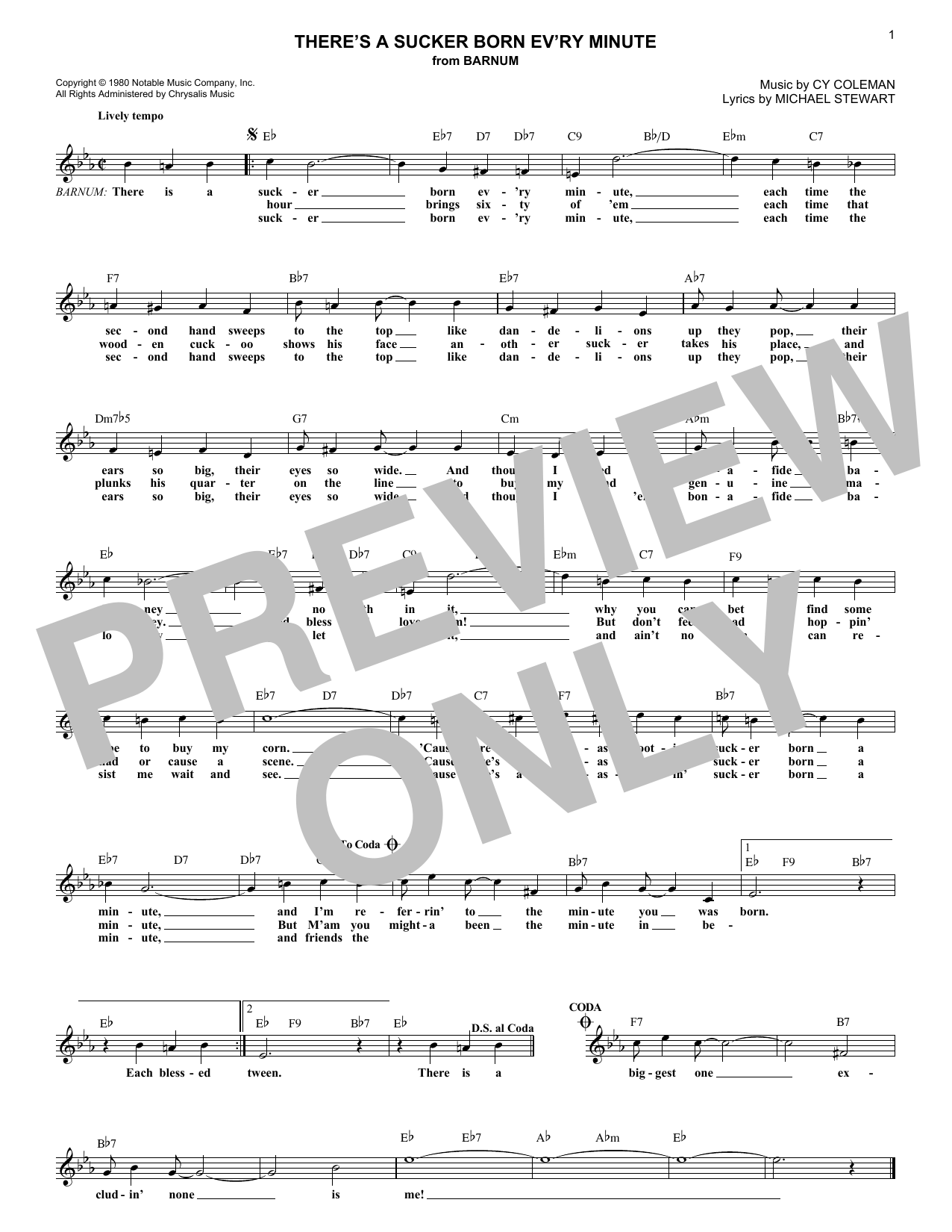 There's A Sucker Born Ev'ry Minute Sheet Music