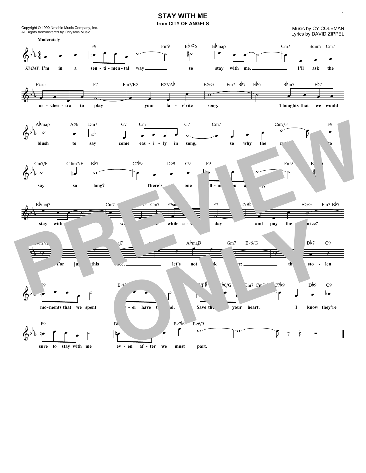 Stay With Me (Lead Sheet / Fake Book)