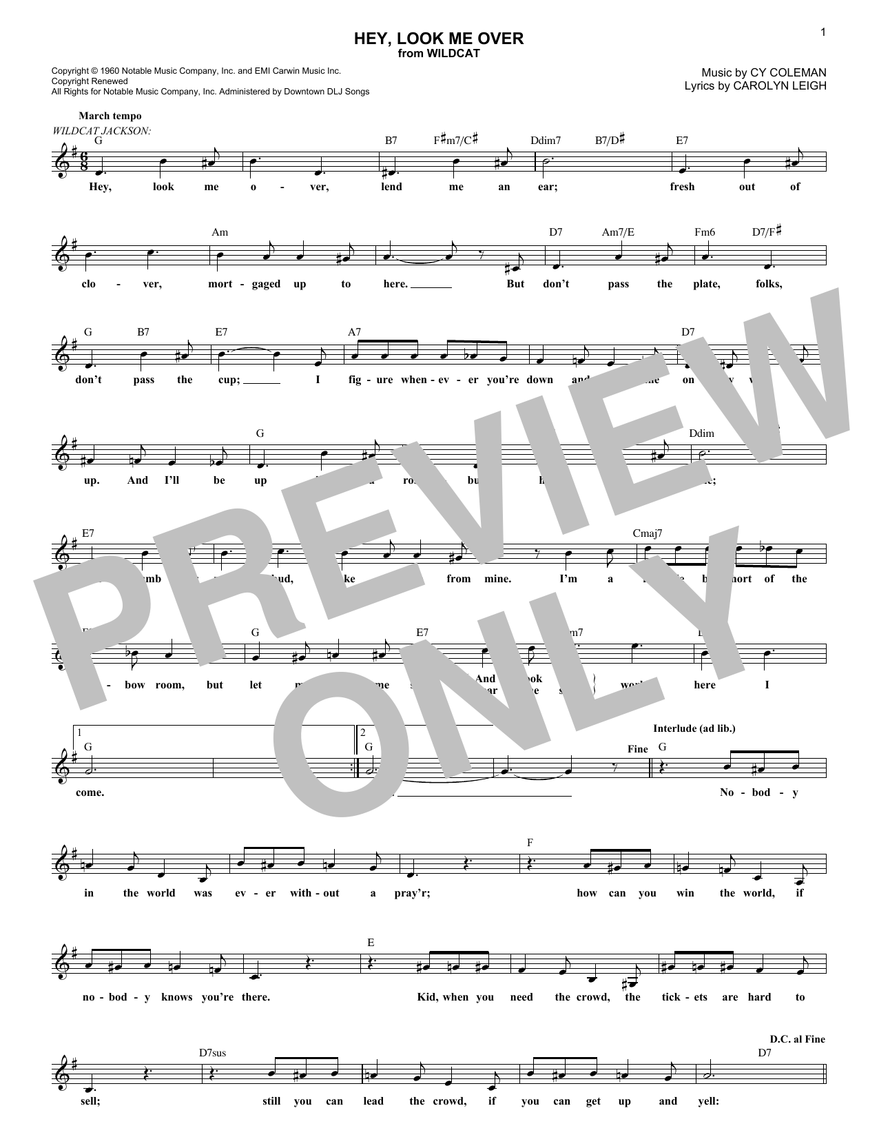 Hey, Look Me Over (Lead Sheet / Fake Book)
