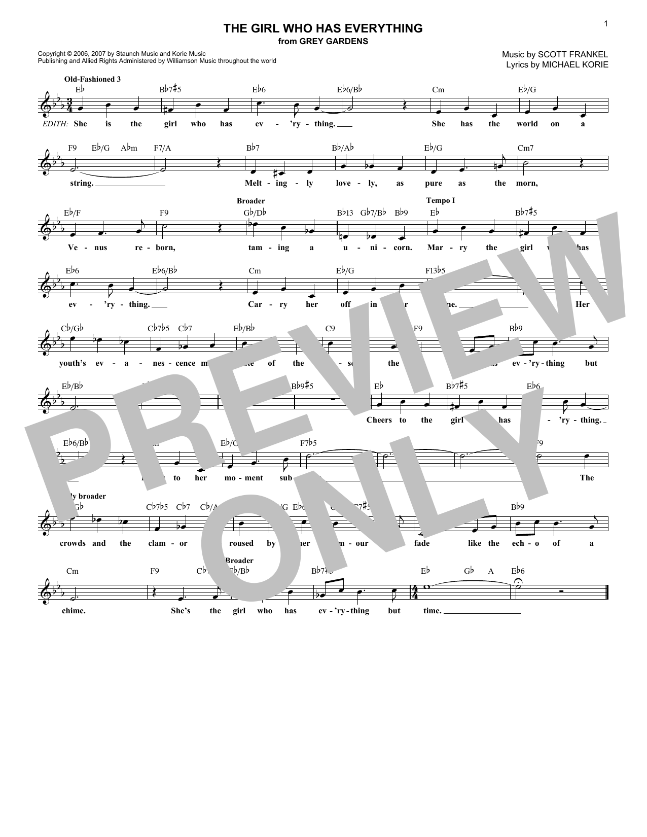 The Girl Who Has Everything (Lead Sheet / Fake Book)