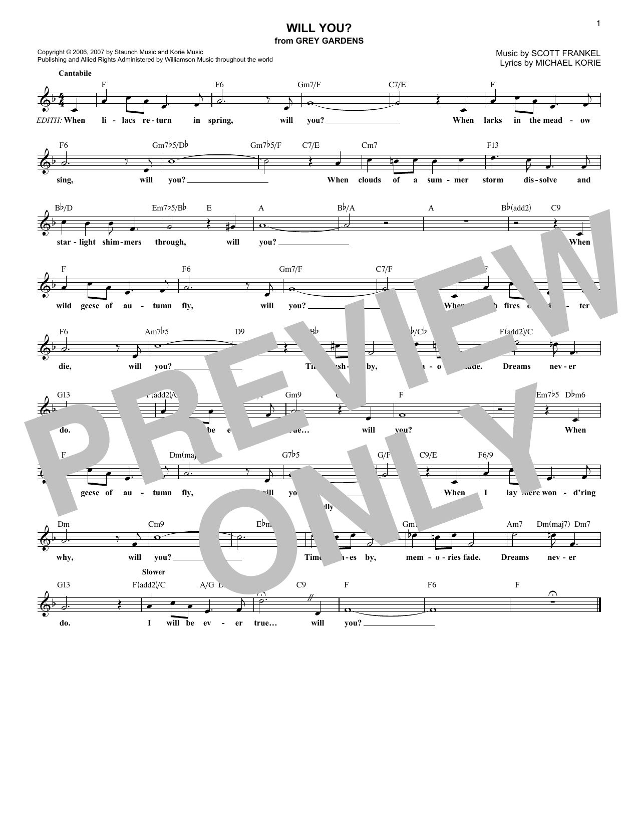 Will You? Sheet Music