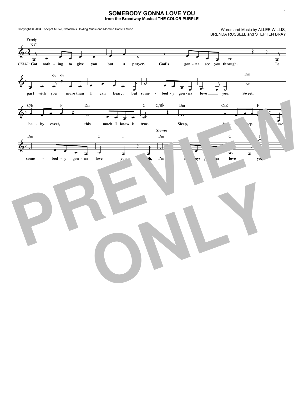 Somebody Gonna Love You (Lead Sheet / Fake Book)