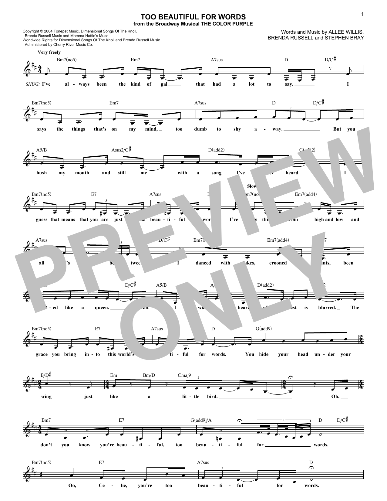 Too Beautiful For Words (Lead Sheet / Fake Book)