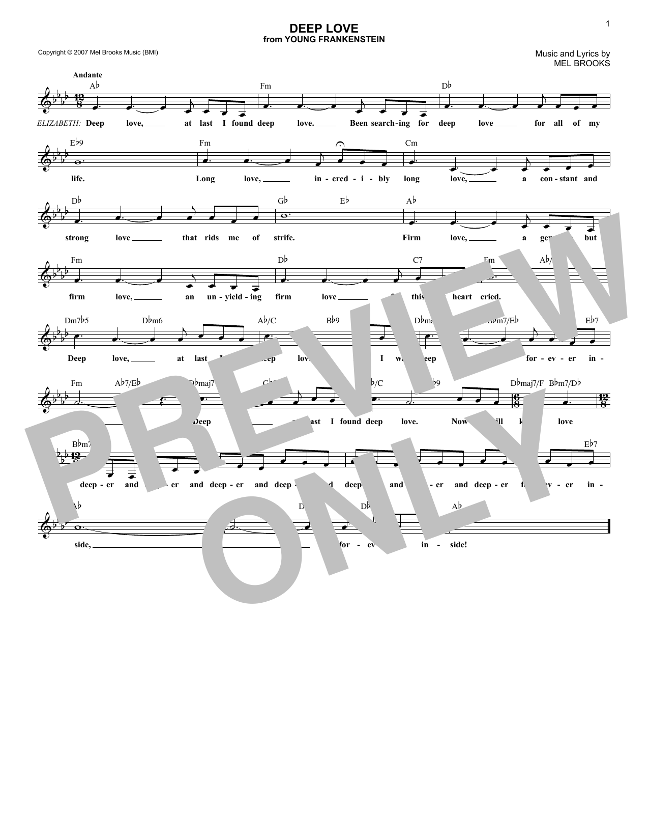 Deep Love (Lead Sheet / Fake Book)
