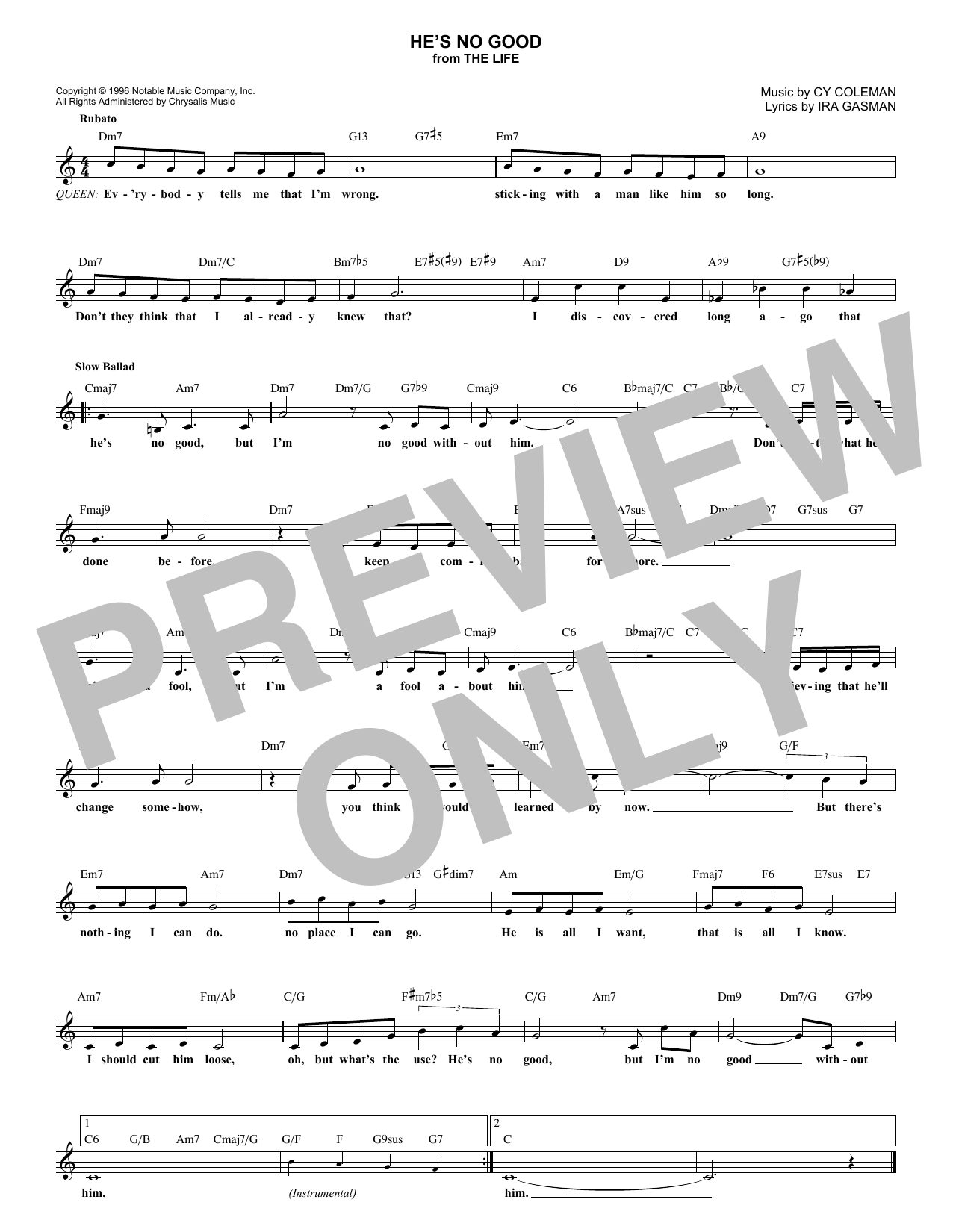 He's No Good (Lead Sheet / Fake Book)