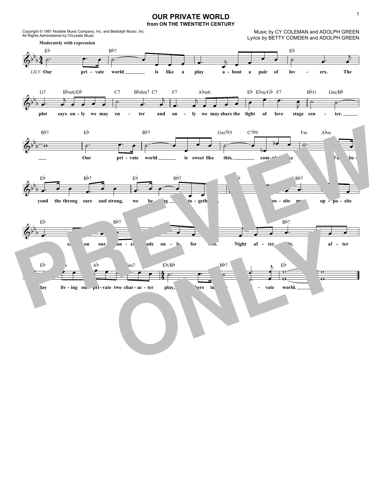 Our Private World (Lead Sheet / Fake Book)