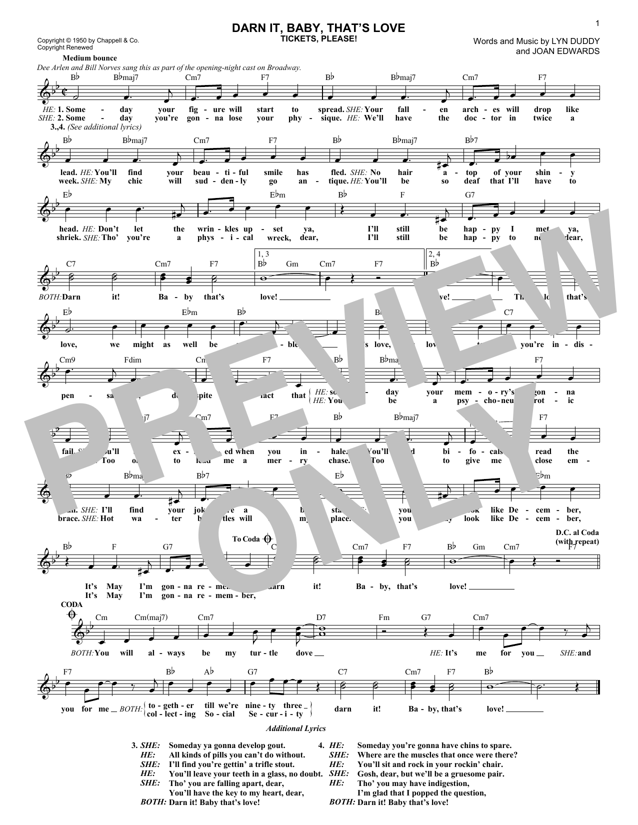Darn It, Baby, That's Love (Lead Sheet / Fake Book)