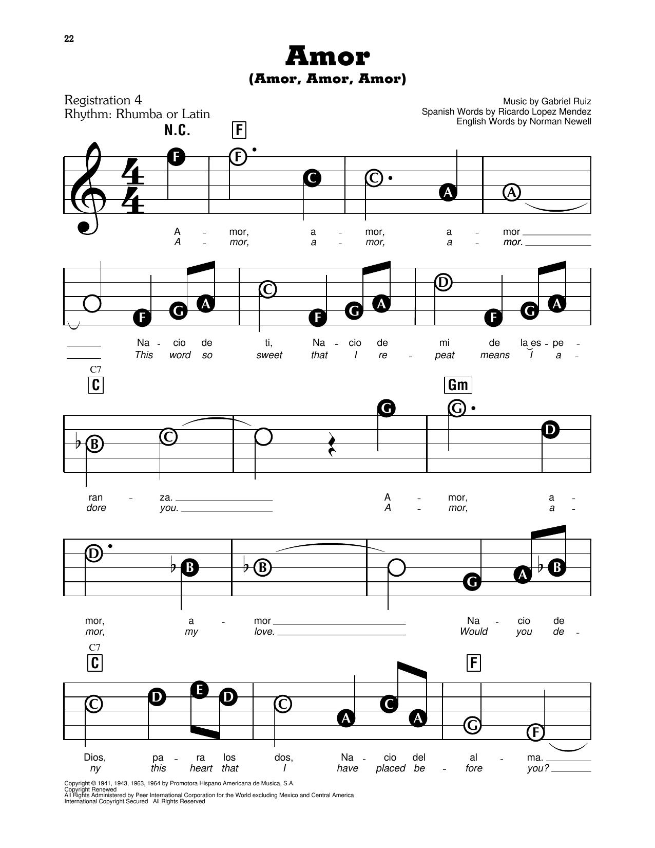 Amor (Amor, Amor, Amor) (E-Z Play Today)