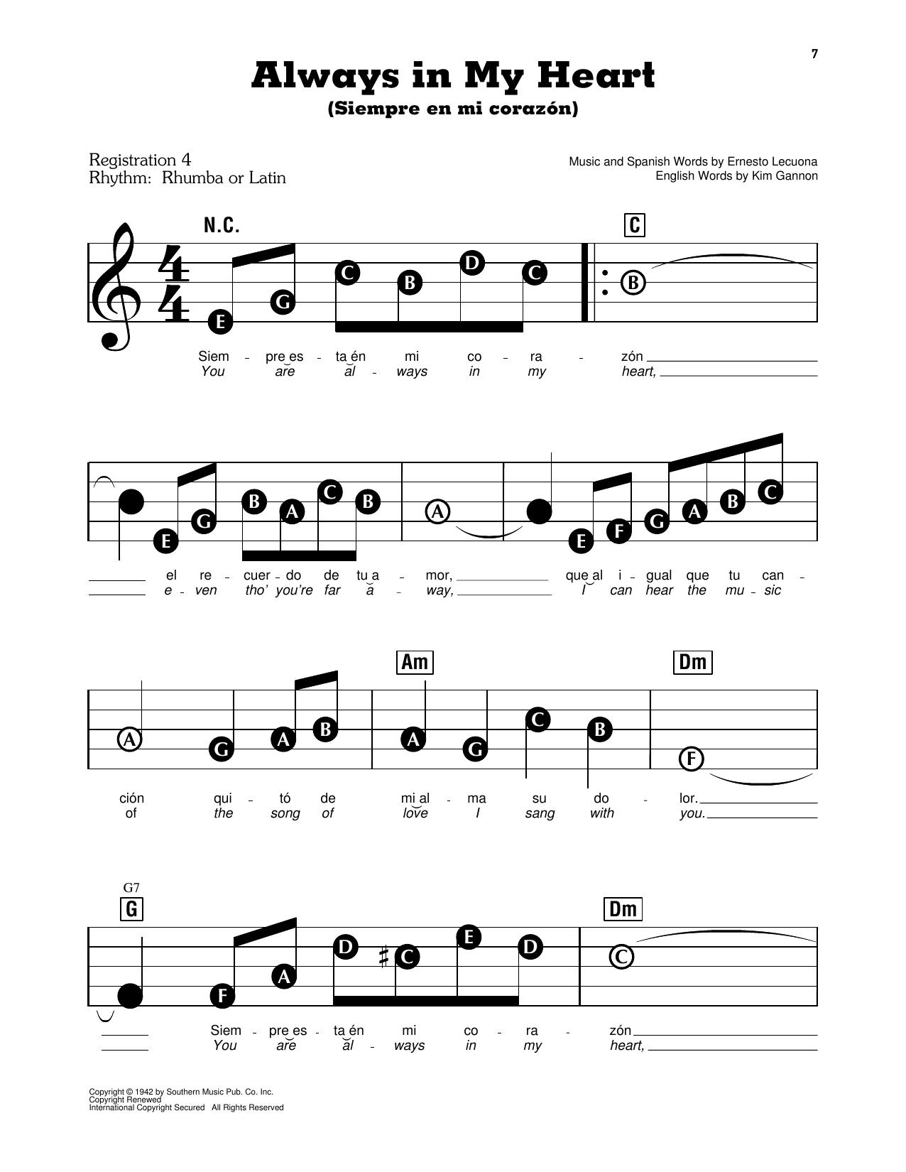 Always In My Heart (Siempre En Mi Corazon) Sheet Music