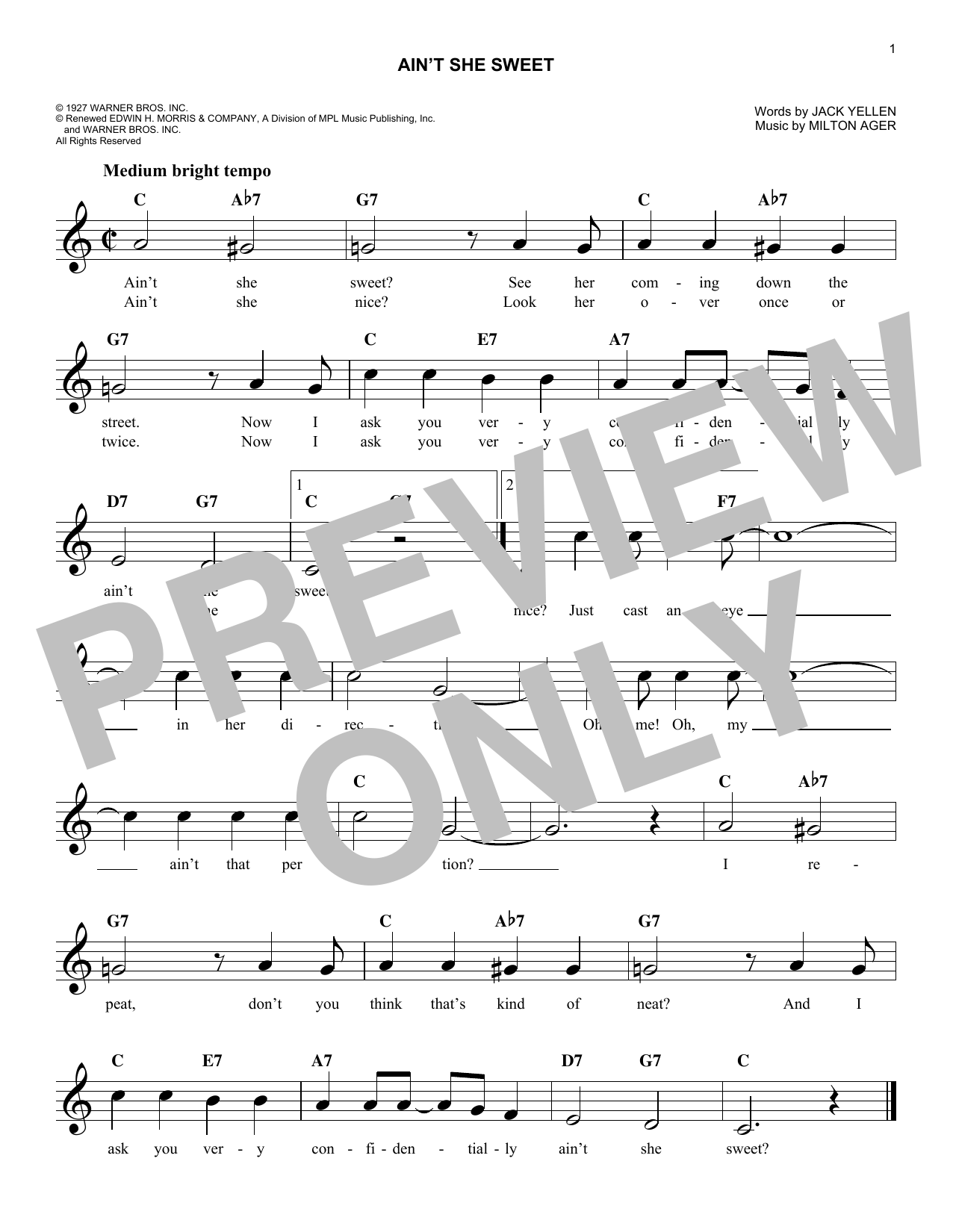 Ain't She Sweet (Lead Sheet / Fake Book)