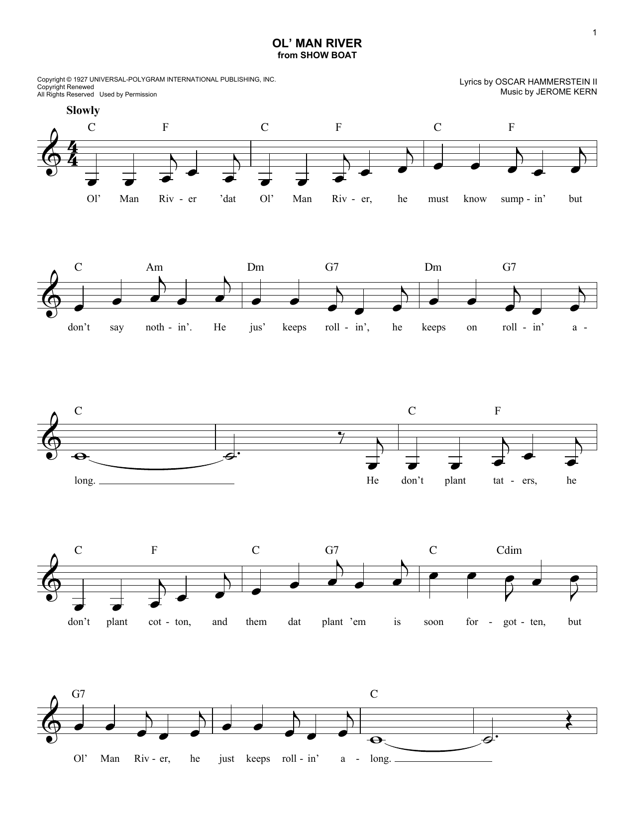 Ol' Man River (from Show Boat) (Lead Sheet / Fake Book)