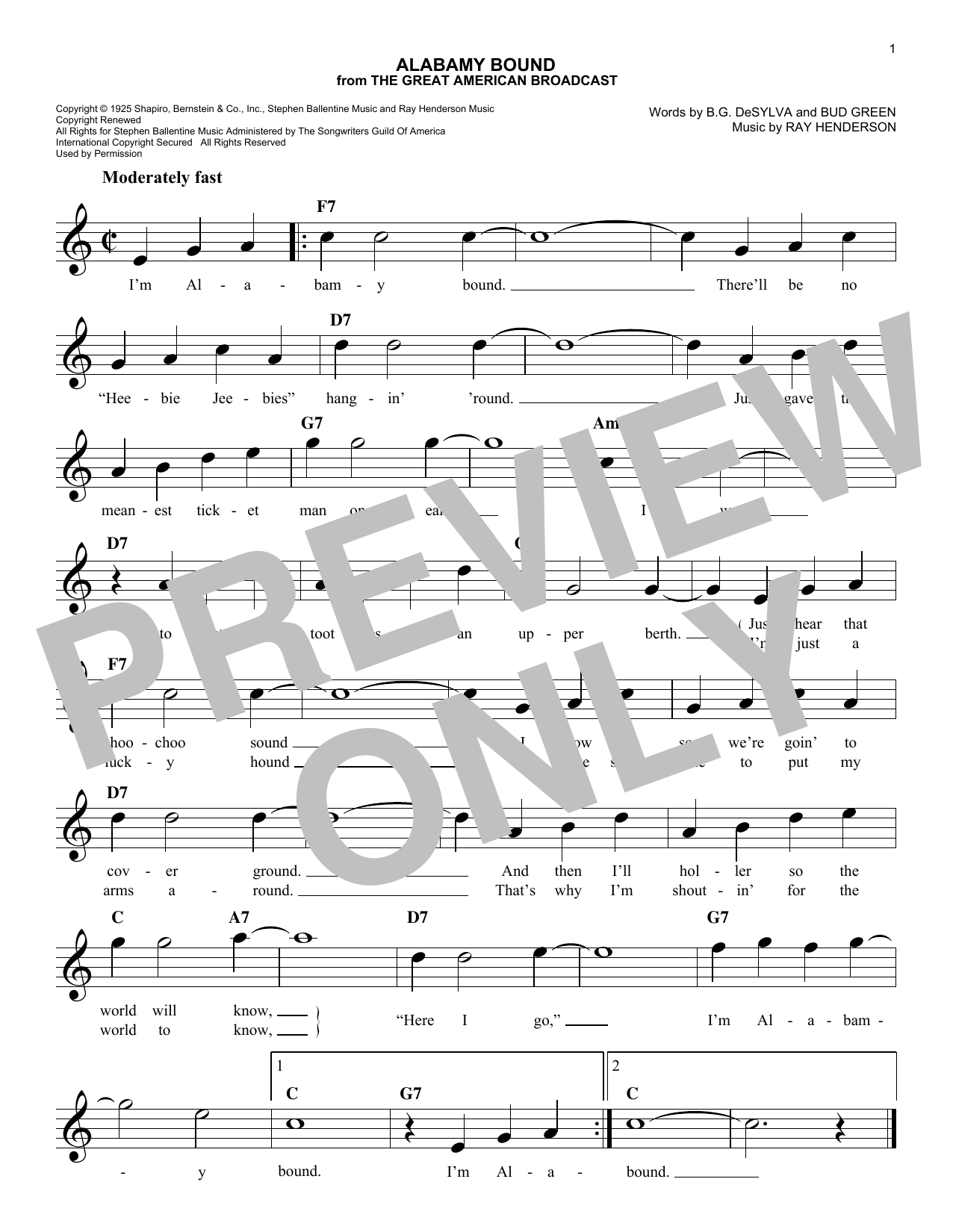 Alabamy Bound (Lead Sheet / Fake Book)
