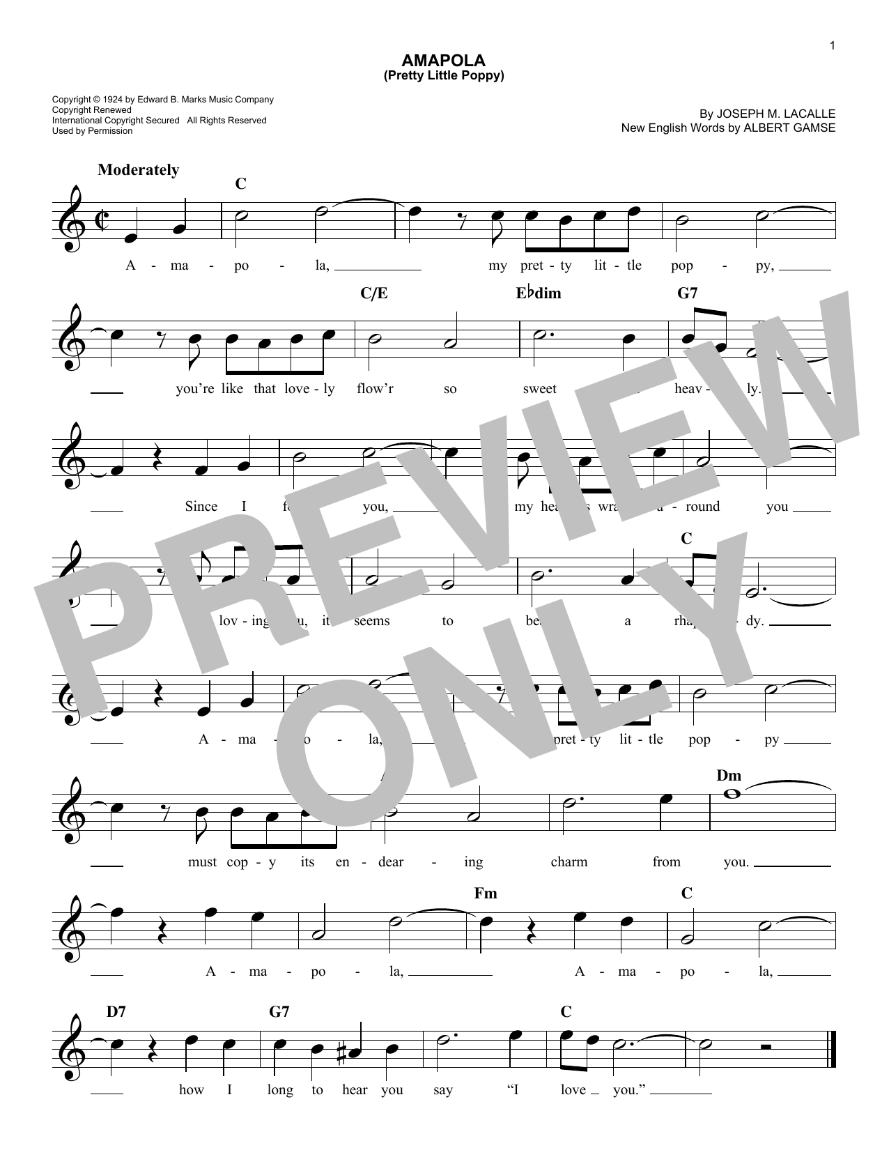 Amapola (Pretty Little Poppy) (Lead Sheet / Fake Book)