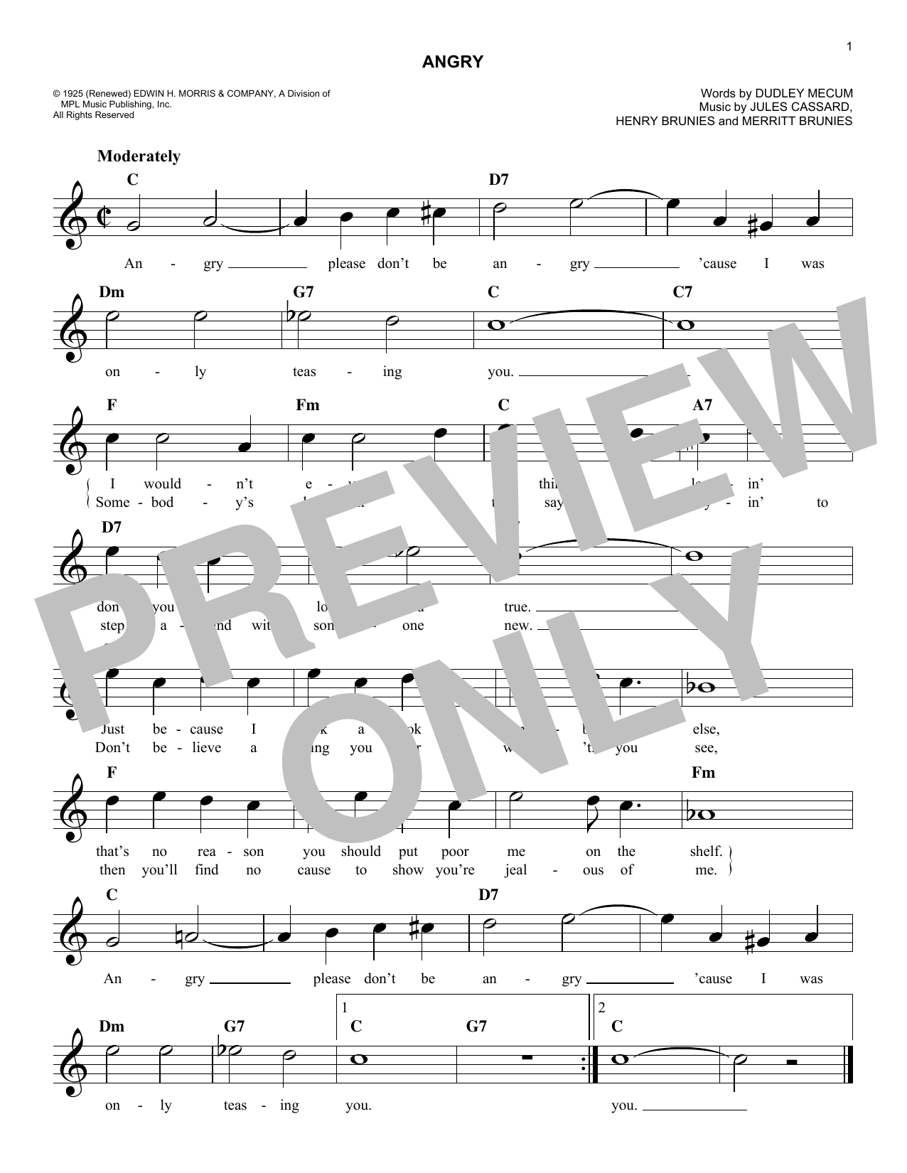 Angry (Lead Sheet / Fake Book)