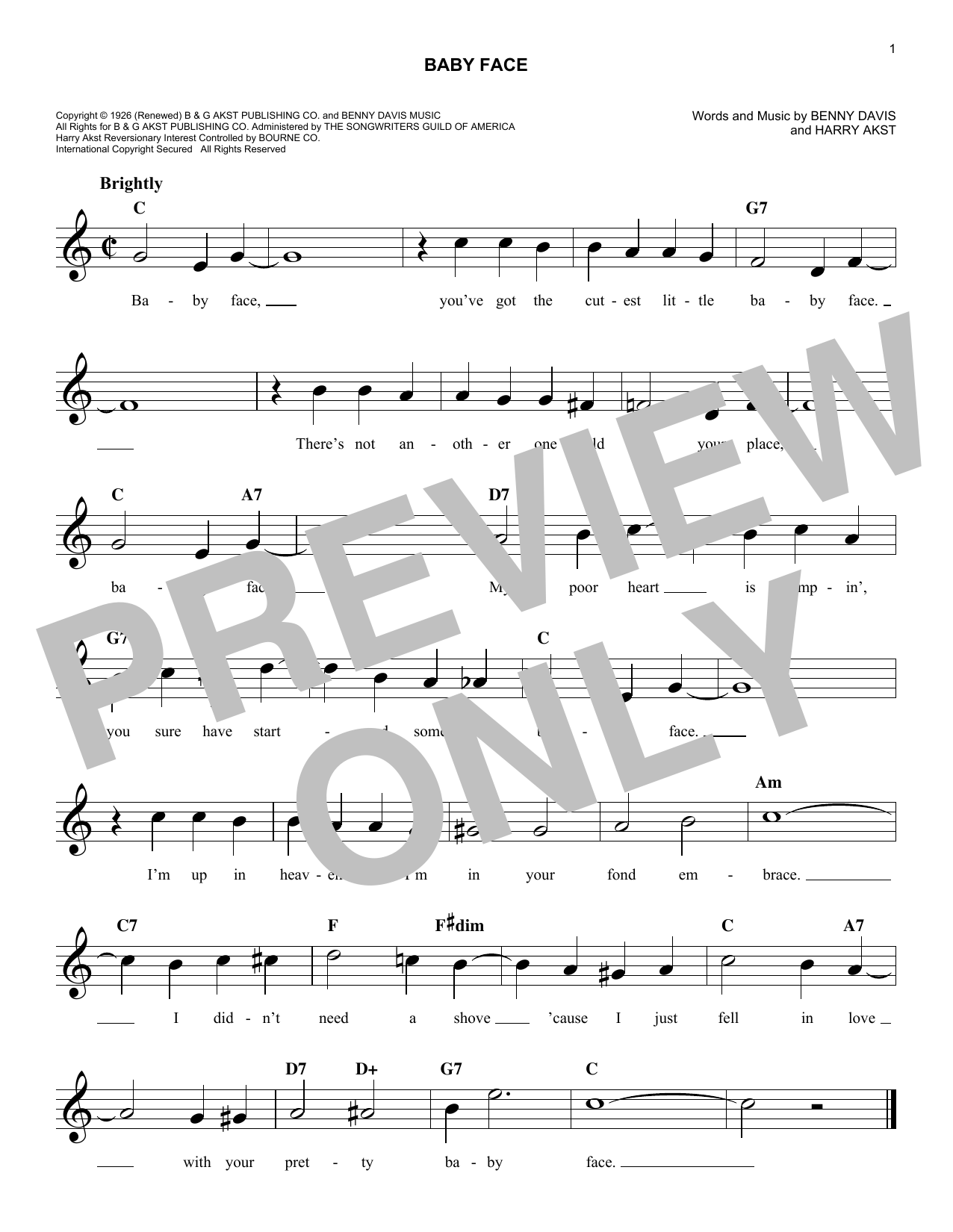 Baby Face (Lead Sheet / Fake Book)